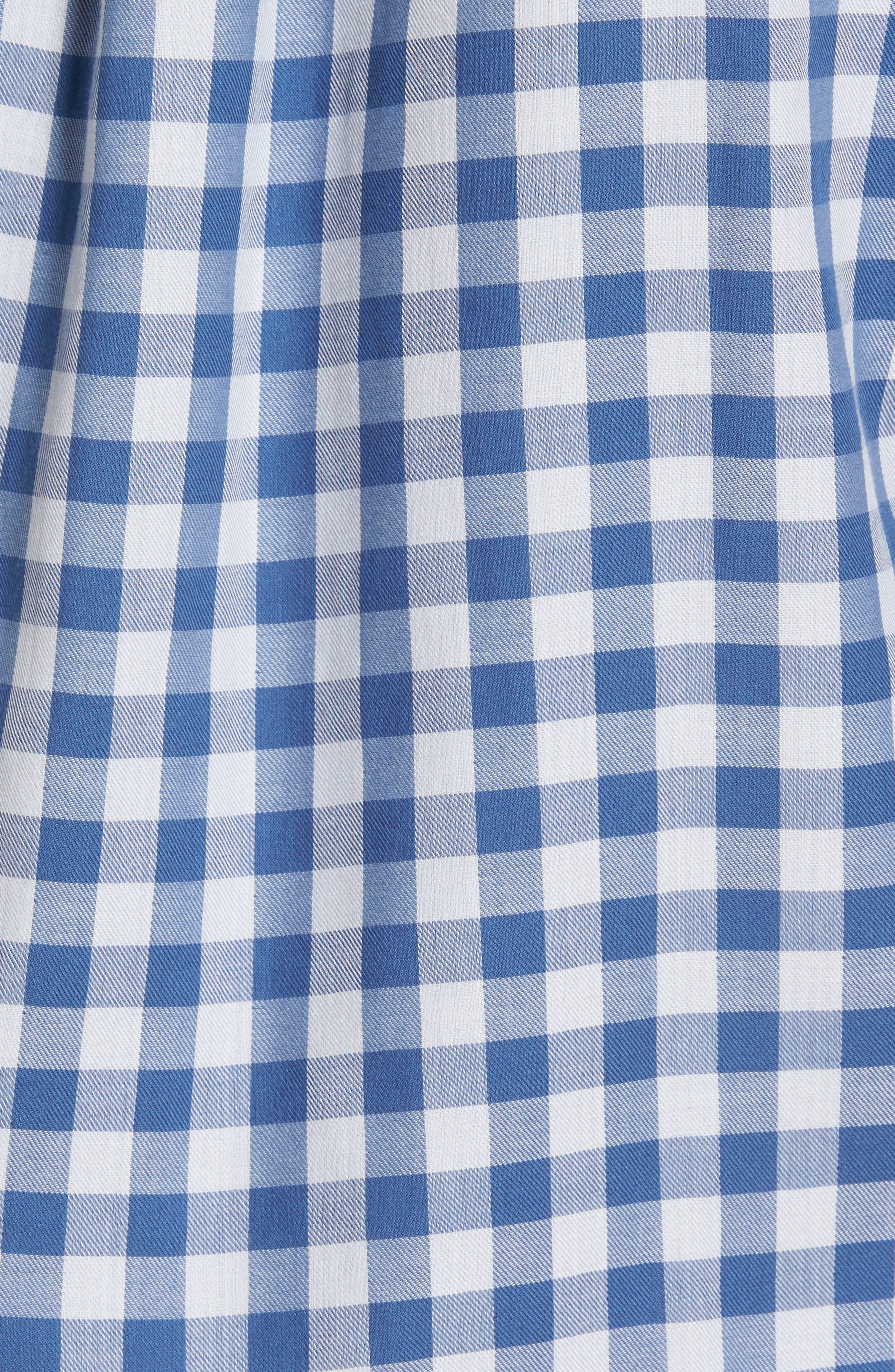 Crosby Slim Blue Heron Gingham Sport Shirt,                             Alternate thumbnail 5, color,                             461