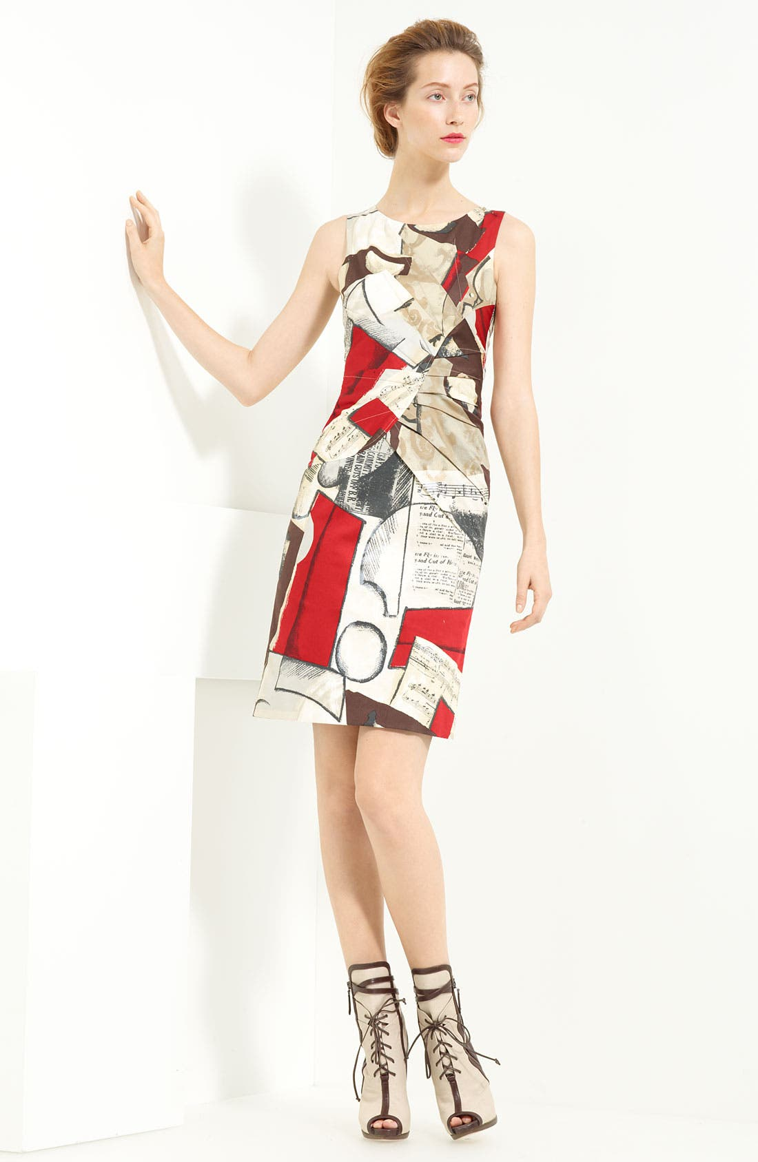 'Picasso Newsprint' Stretch Cotton Dress,                             Main thumbnail 1, color,                             099