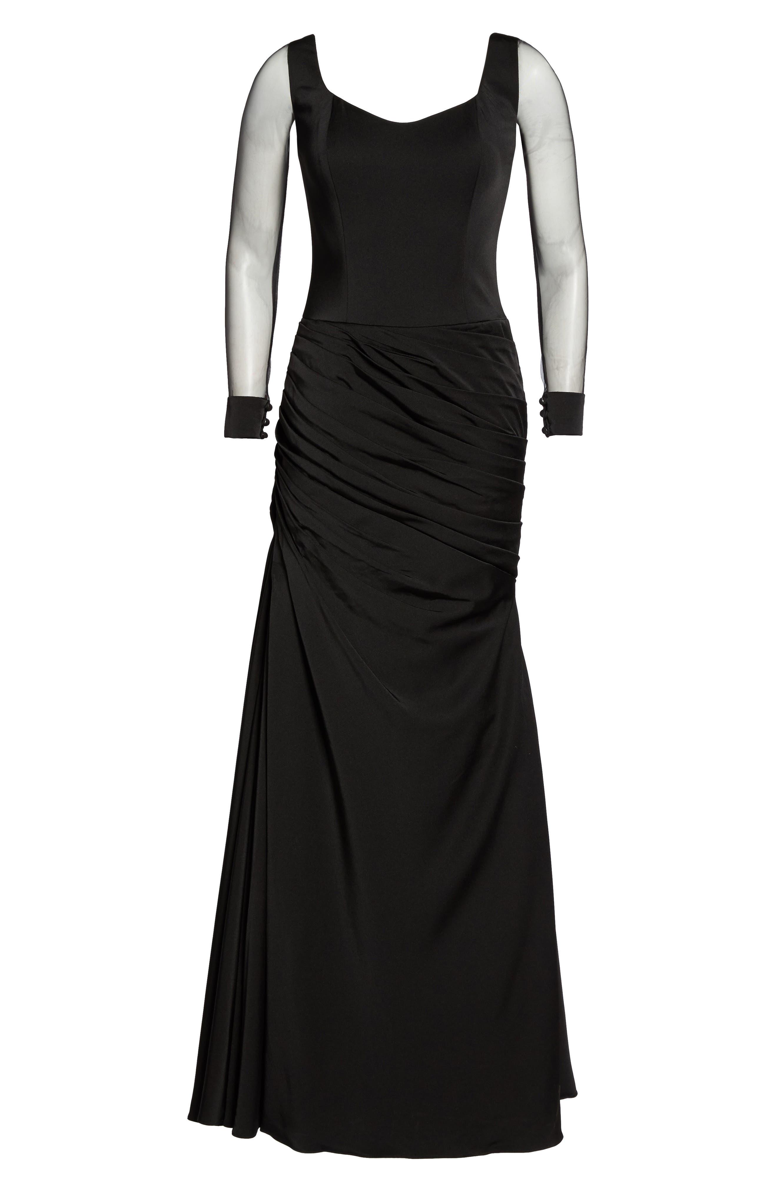 Sheer Sleeve Gown,                             Alternate thumbnail 6, color,                             BLACK