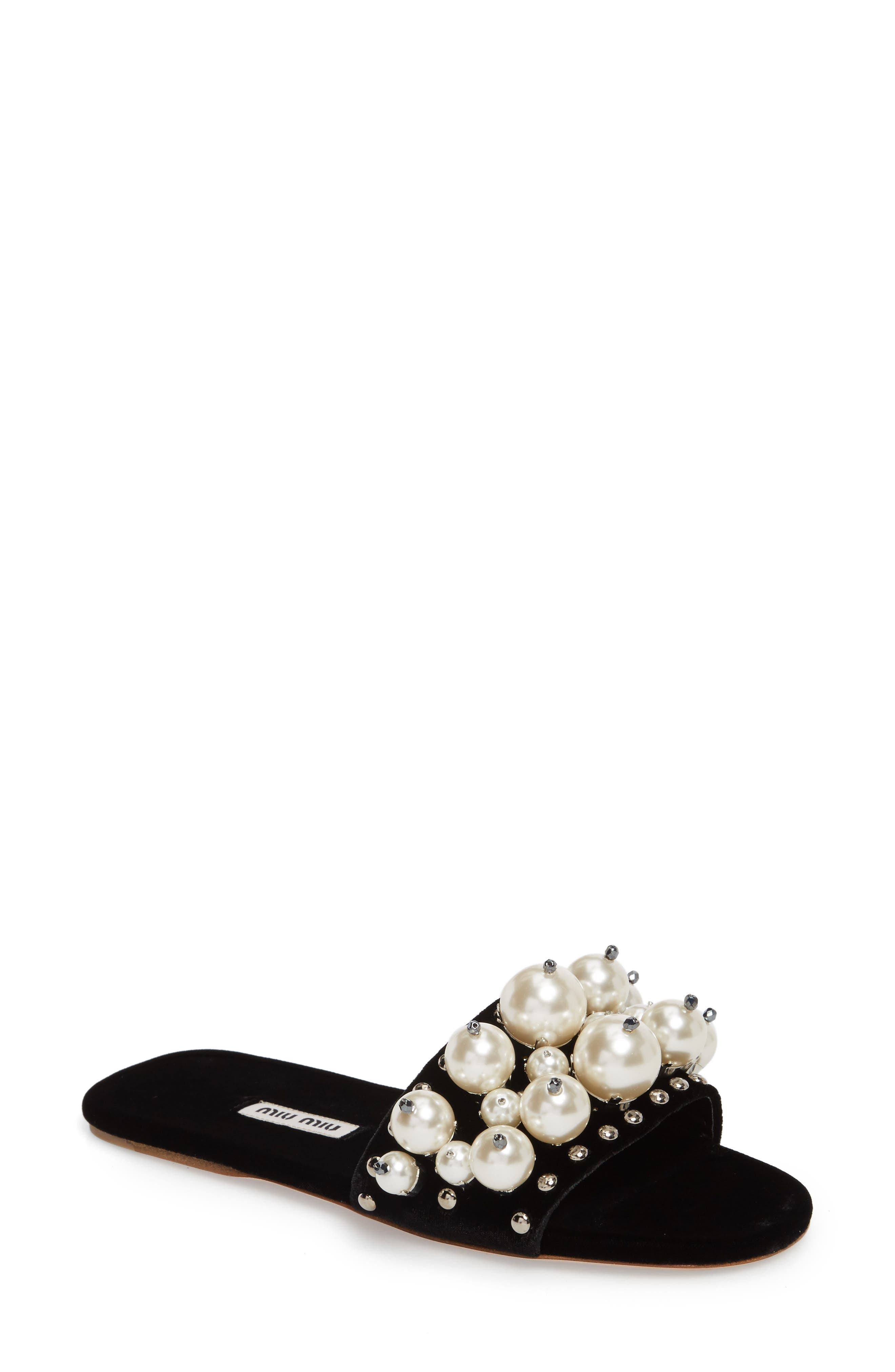Imitation Pearl Embellished Slide Sandal,                             Main thumbnail 1, color,                             001