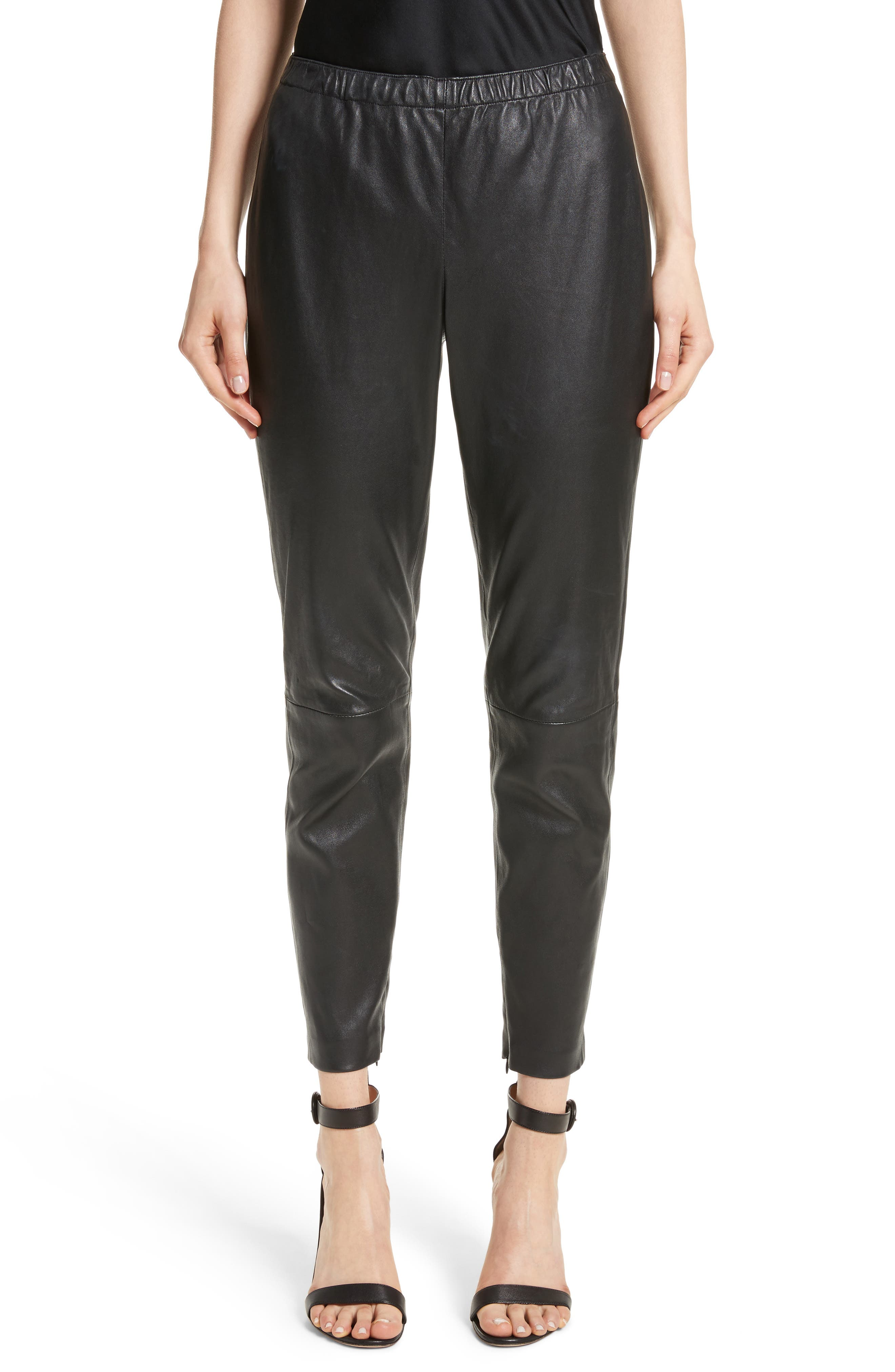 Stretch Nappa Leather Crop Pants,                         Main,                         color, CAVIAR