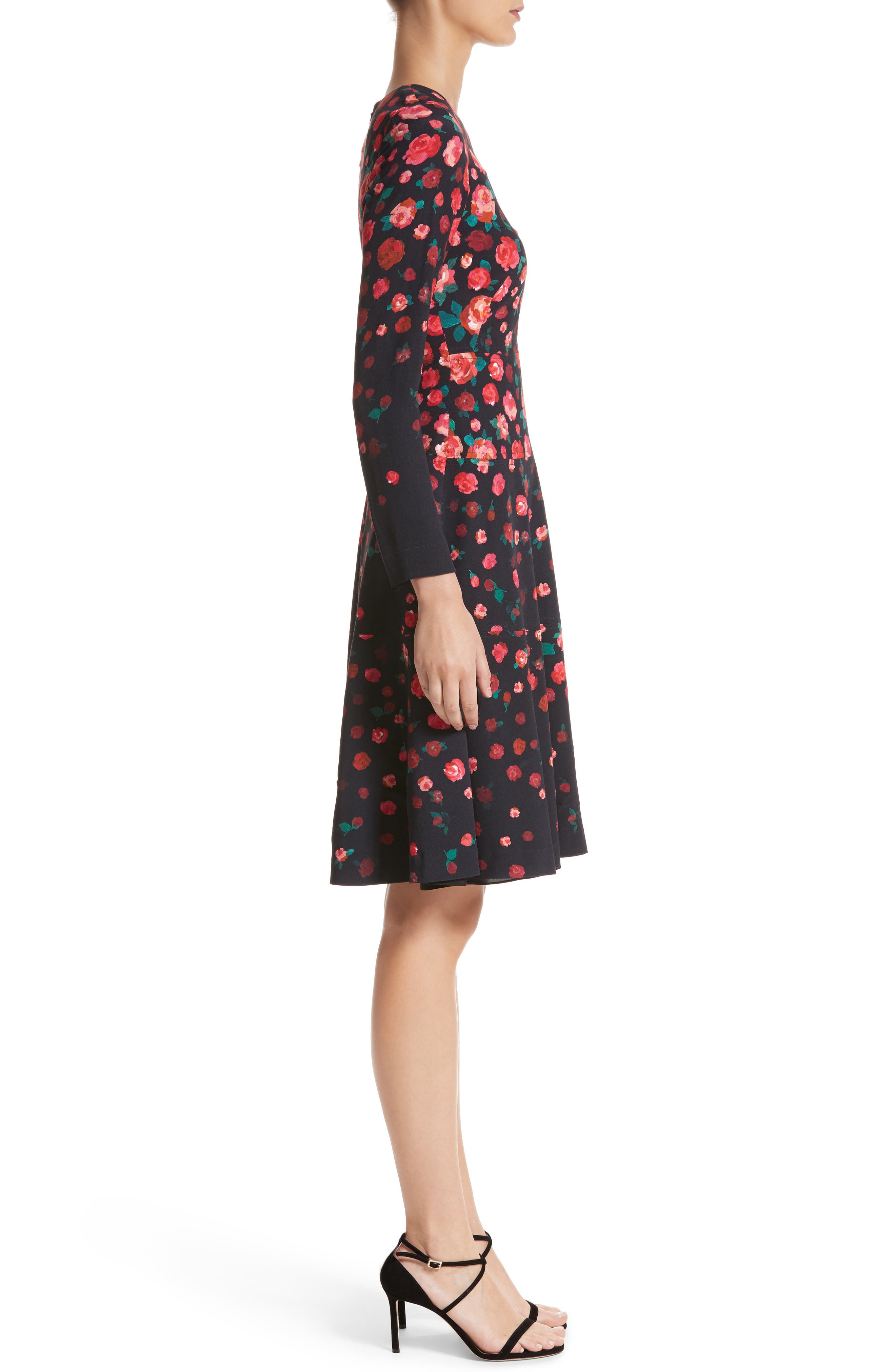 Floral Print Fit & Flare Dress,                             Alternate thumbnail 3, color,                             621