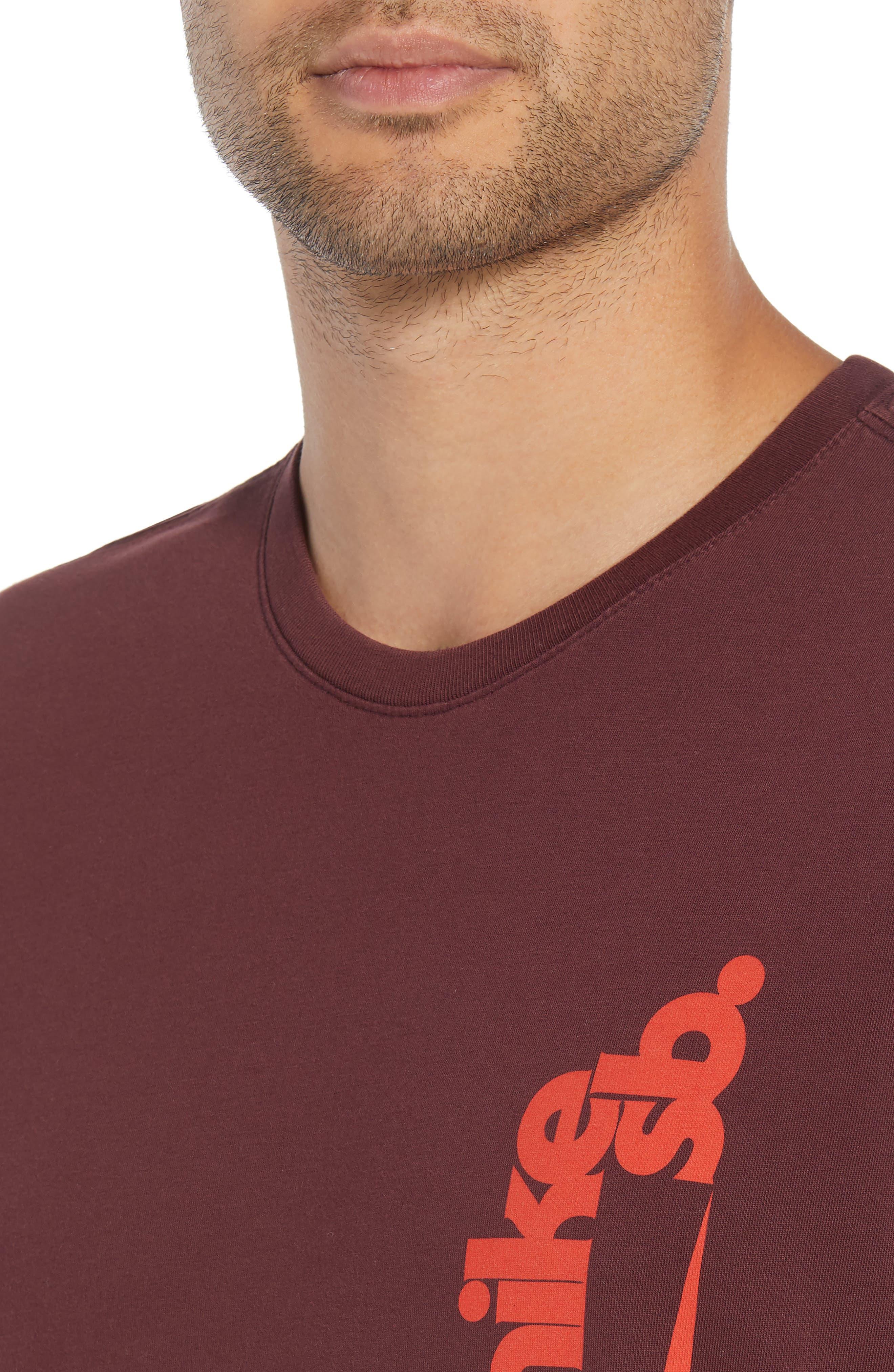Crewneck T-Shirt,                             Alternate thumbnail 4, color,                             BURGUNDY CRUSH/ HABANERO RED