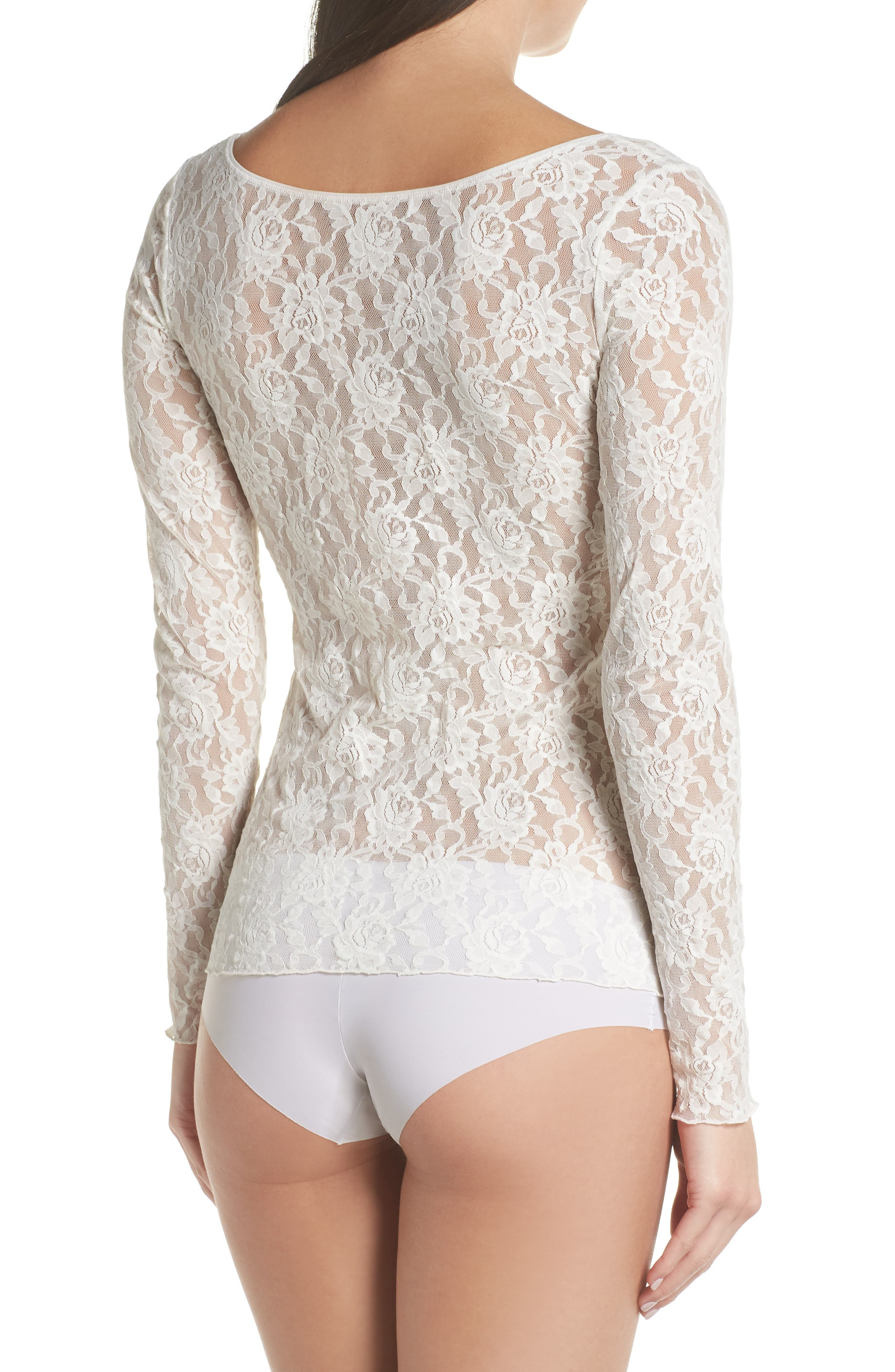 Signature Lace 2-Way Top,                             Alternate thumbnail 3, color,                             MARSHMALLOW