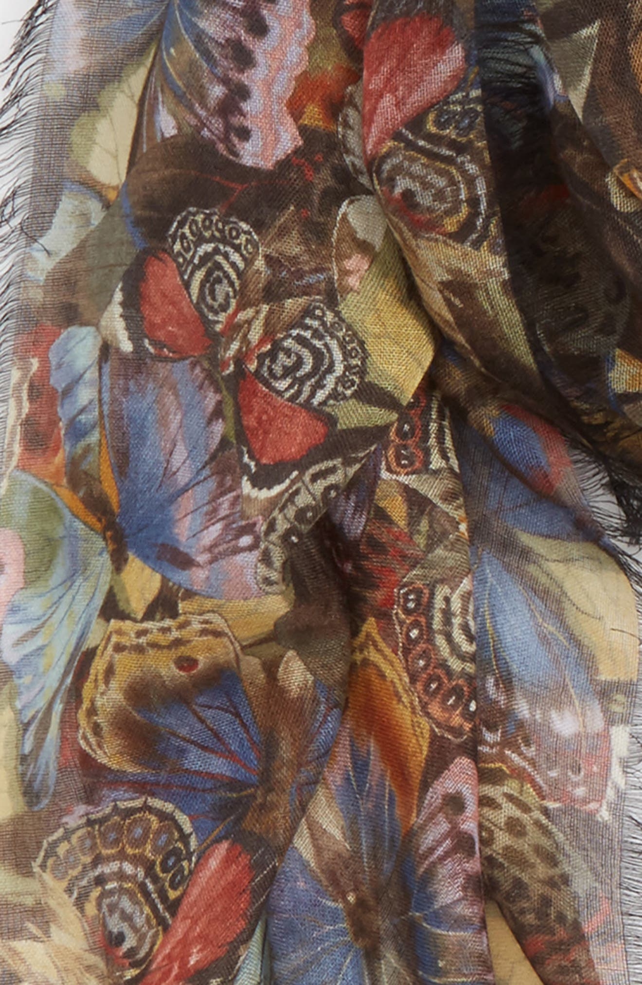 Butterfly Cashmere & Silk Scarf,                             Alternate thumbnail 3, color,                             001