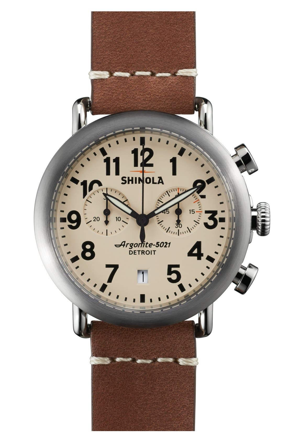 'The Runwell Chrono' Leather Strap Watch, 41mm,                             Main thumbnail 2, color,