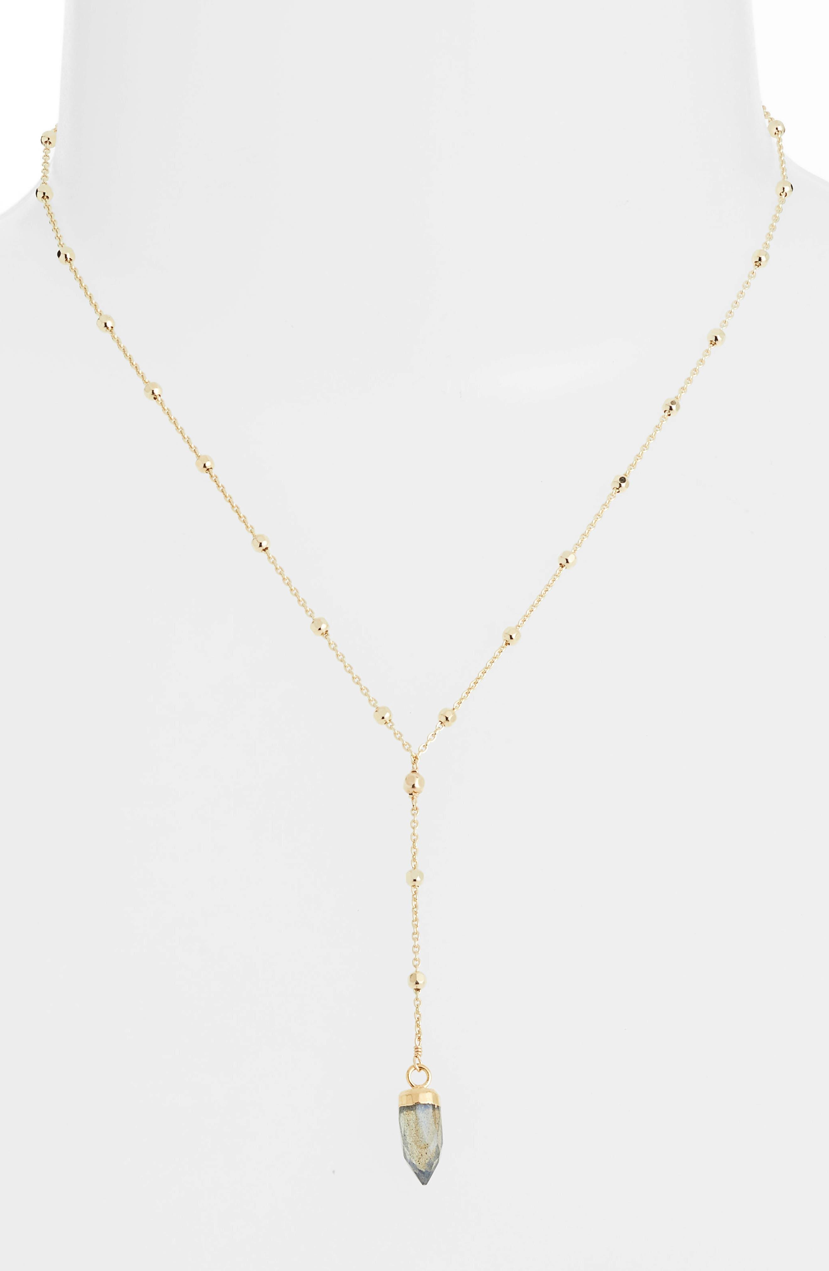 Patience Wisdom Labradorite Necklace,                             Alternate thumbnail 2, color,                             GOLD