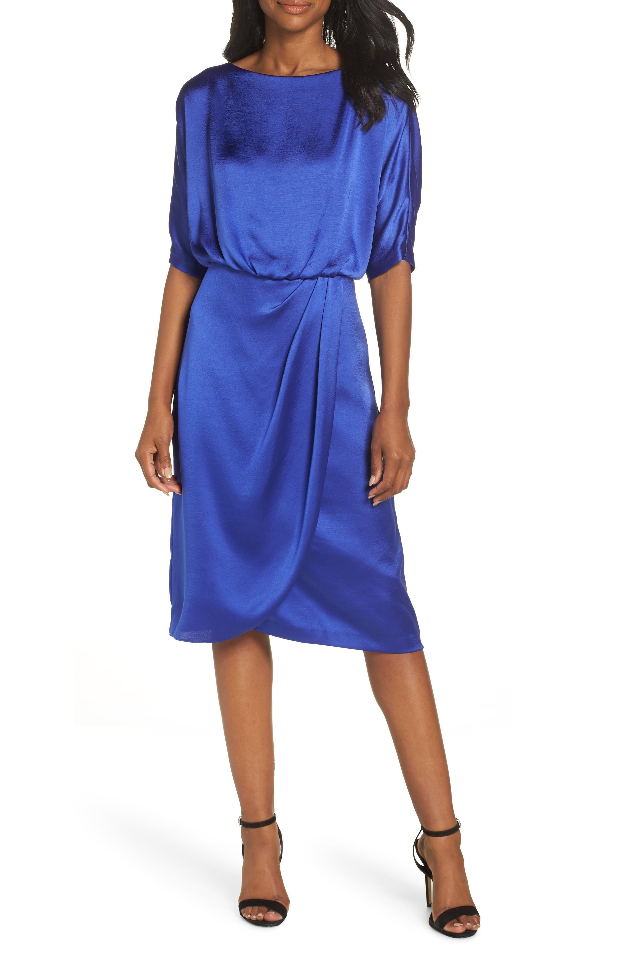 Draped Blouson Dress, Main, color, EMPIRE BLUE