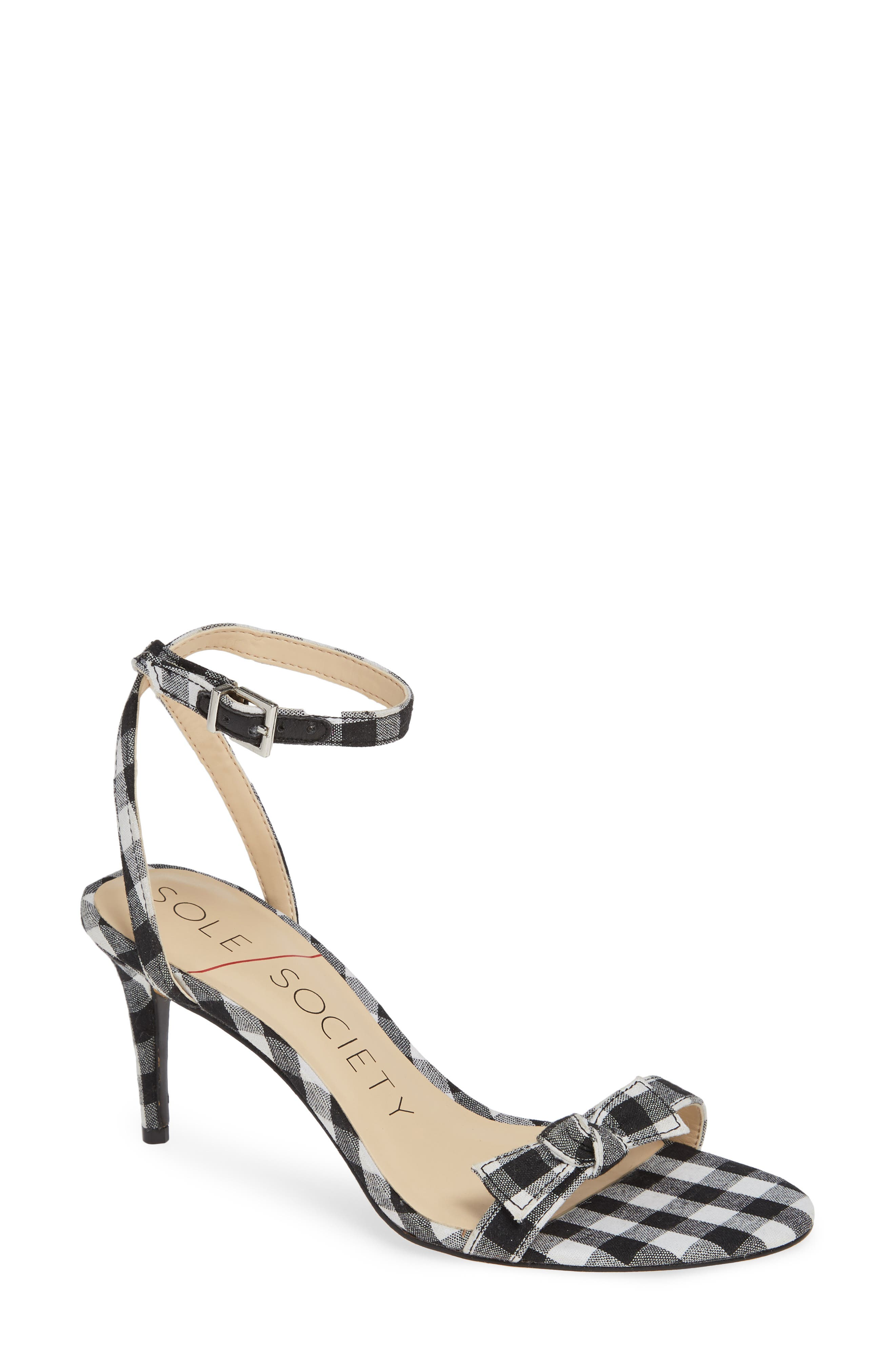 Avrilie Knotted Sandal,                         Main,                         color, BLACK/ WHITE GINGHAM