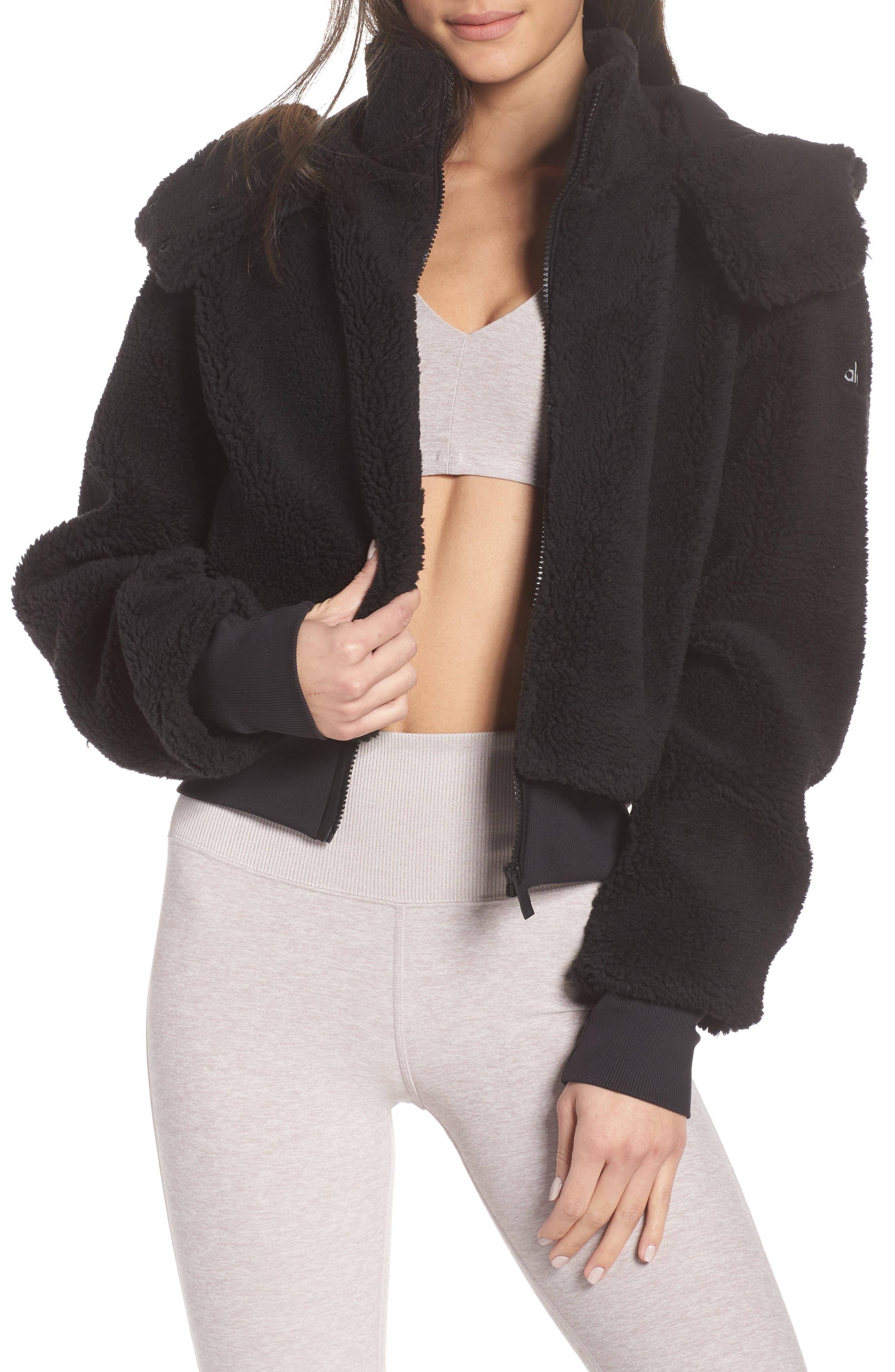 Foxy Faux Fur Jacket,                             Main thumbnail 1, color,                             BLACK