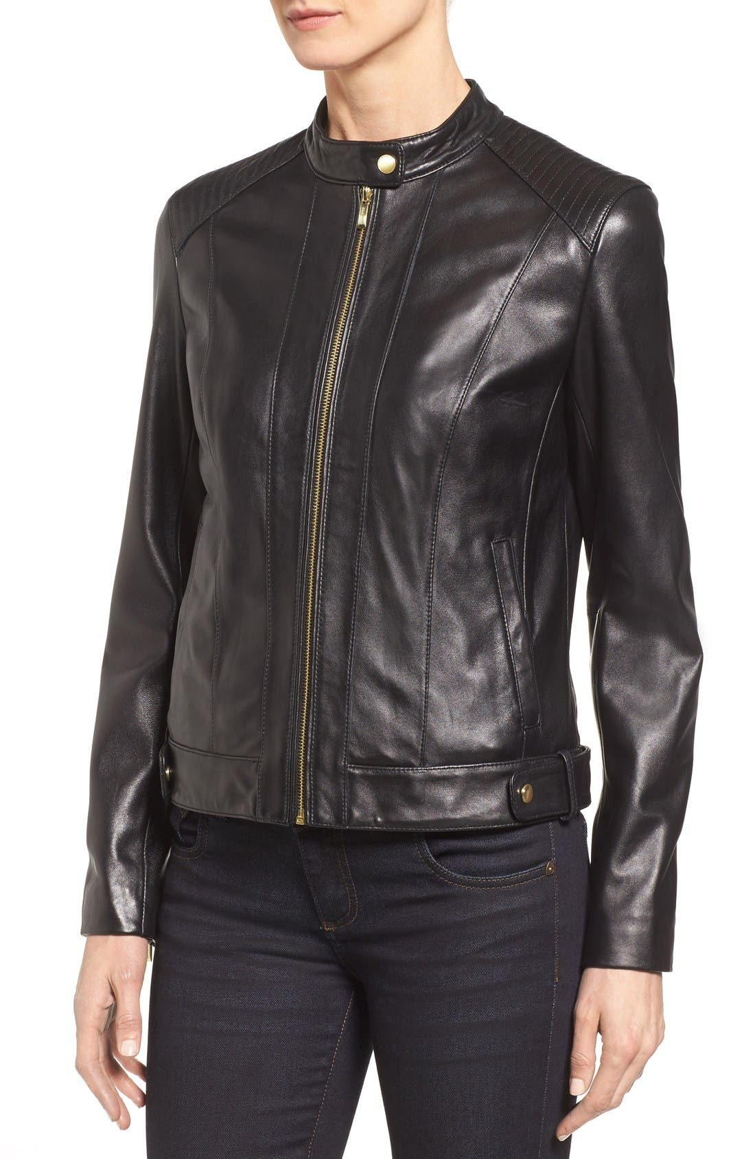 Leather Moto Jacket,                             Alternate thumbnail 4, color,                             BLACK