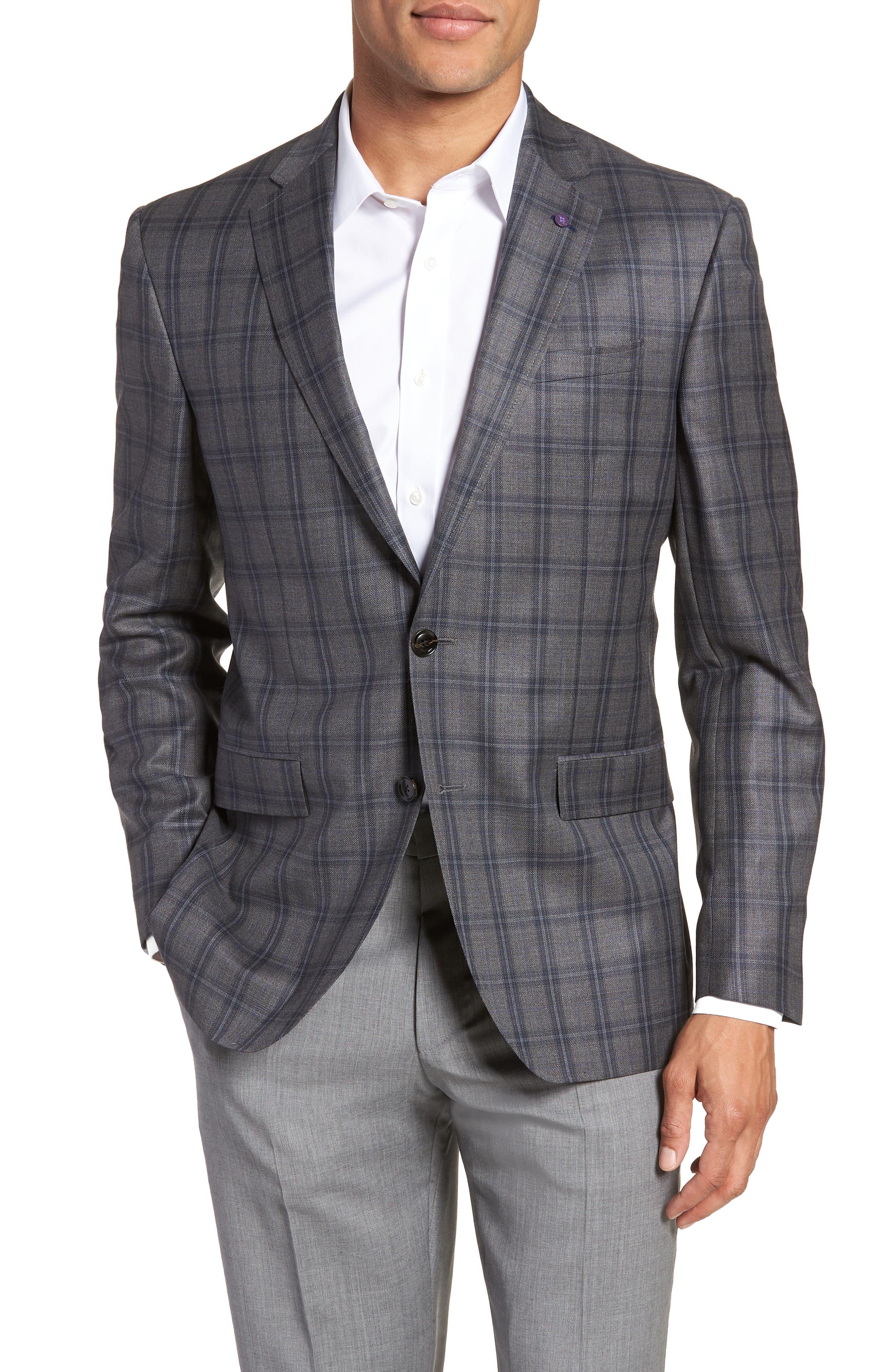 Jay Trim Fit Windowpane Wool Sport Coat,                         Main,                         color, GREY