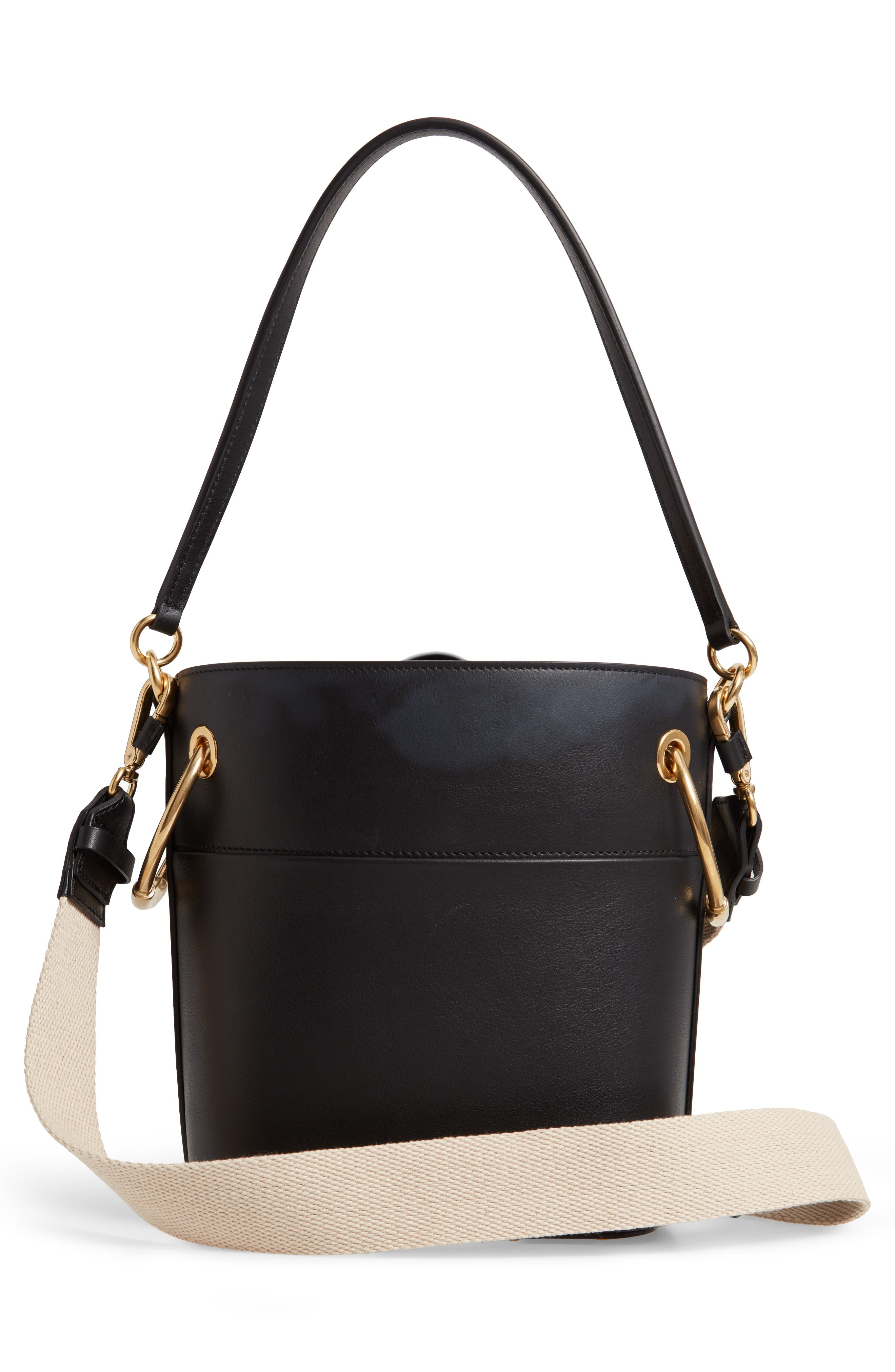 Roy Small Leather Bucket Bag,                             Alternate thumbnail 5, color,                             BLACK