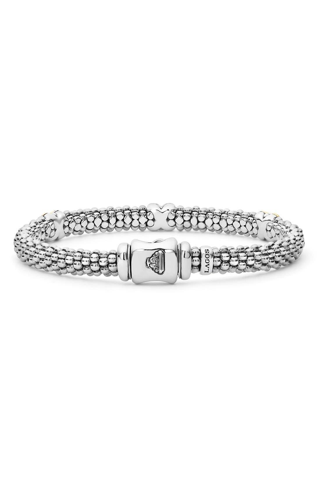 'Signature Caviar' Diamond Rope Bracelet,                             Alternate thumbnail 4, color,                             SILVER/ GOLD