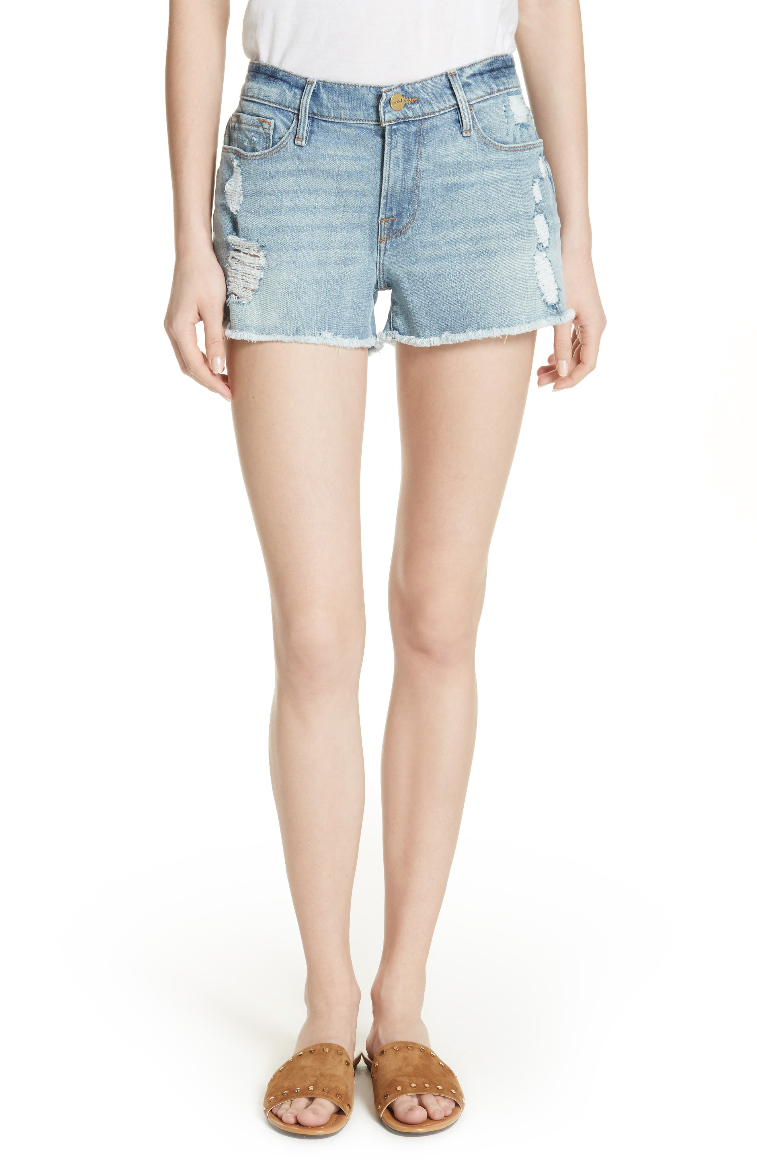 Le Cutoff Denim Shorts,                             Main thumbnail 1, color,                             TAFFORD