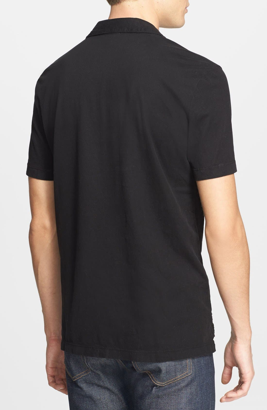 Slim Fit Sueded Jersey Polo,                             Alternate thumbnail 3, color,                             001