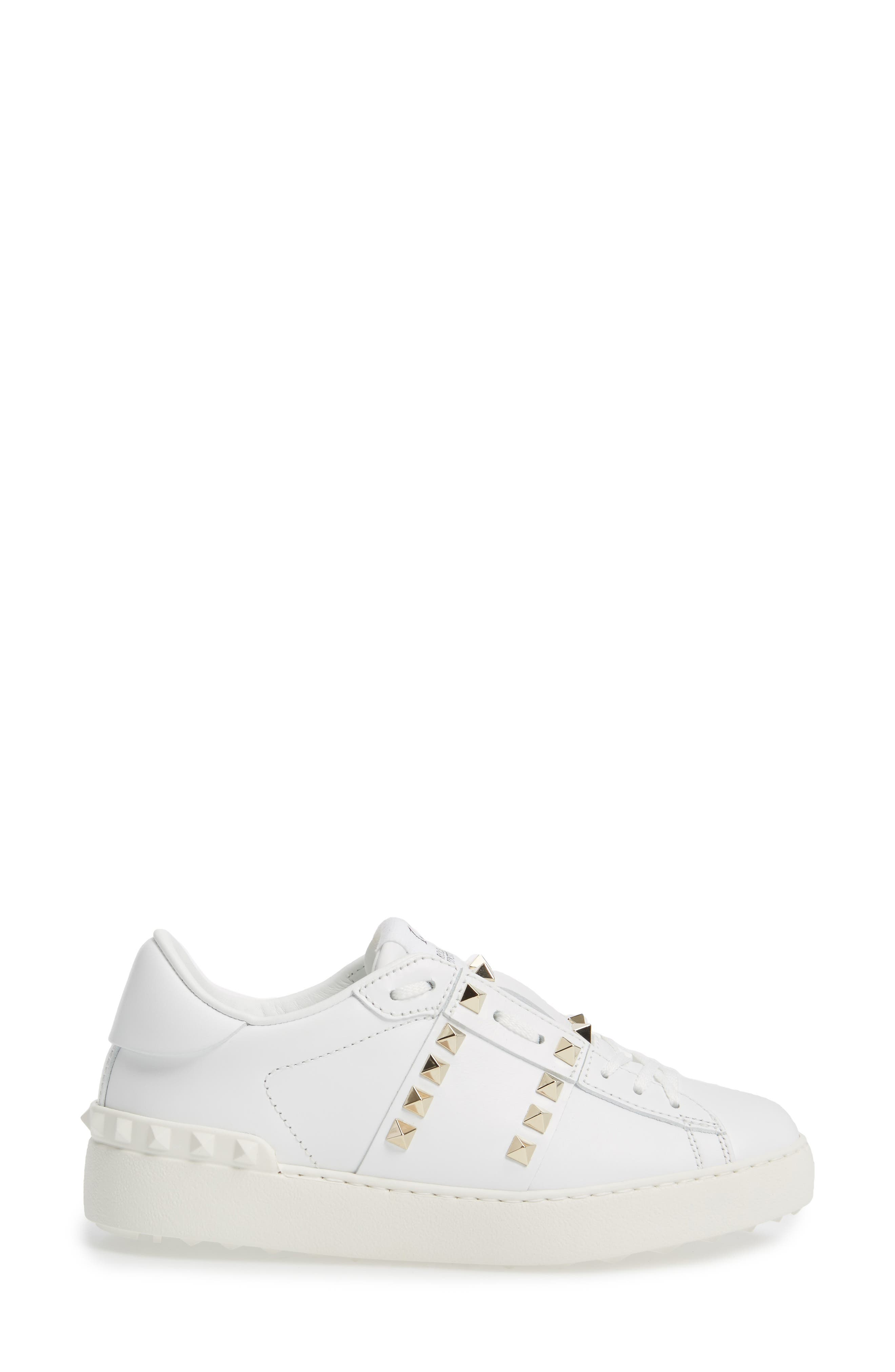 'Rockstud' Sneaker,                             Alternate thumbnail 3, color,                             WHITE LEATHER