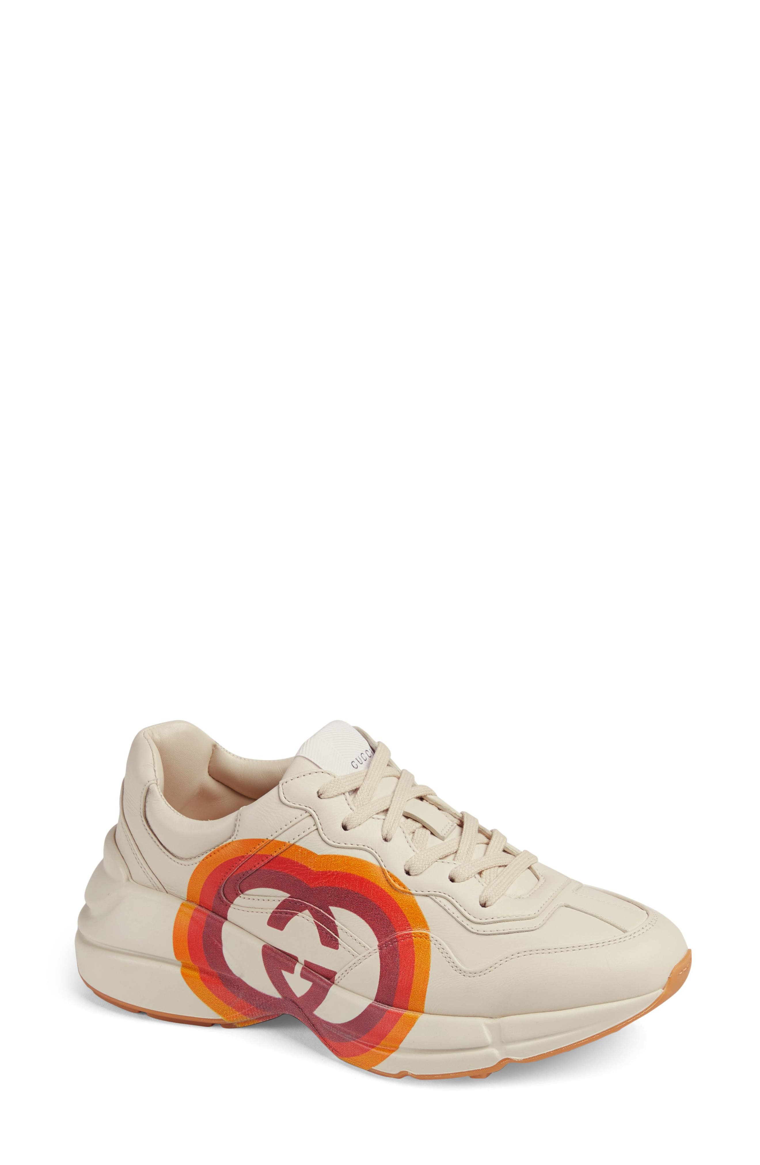 Rhyton Double G Sneaker,                             Main thumbnail 1, color,                             MYSTIC WHITE