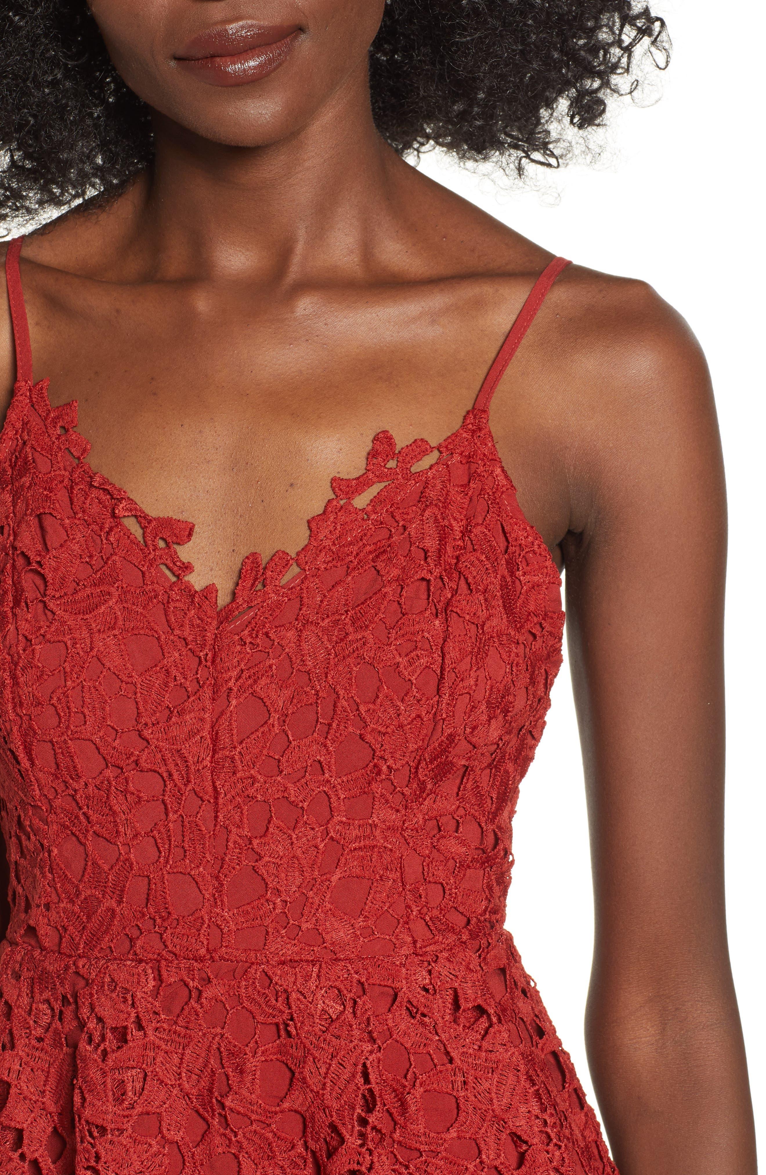 Lace Midi Dress,                             Alternate thumbnail 4, color,                             RUST