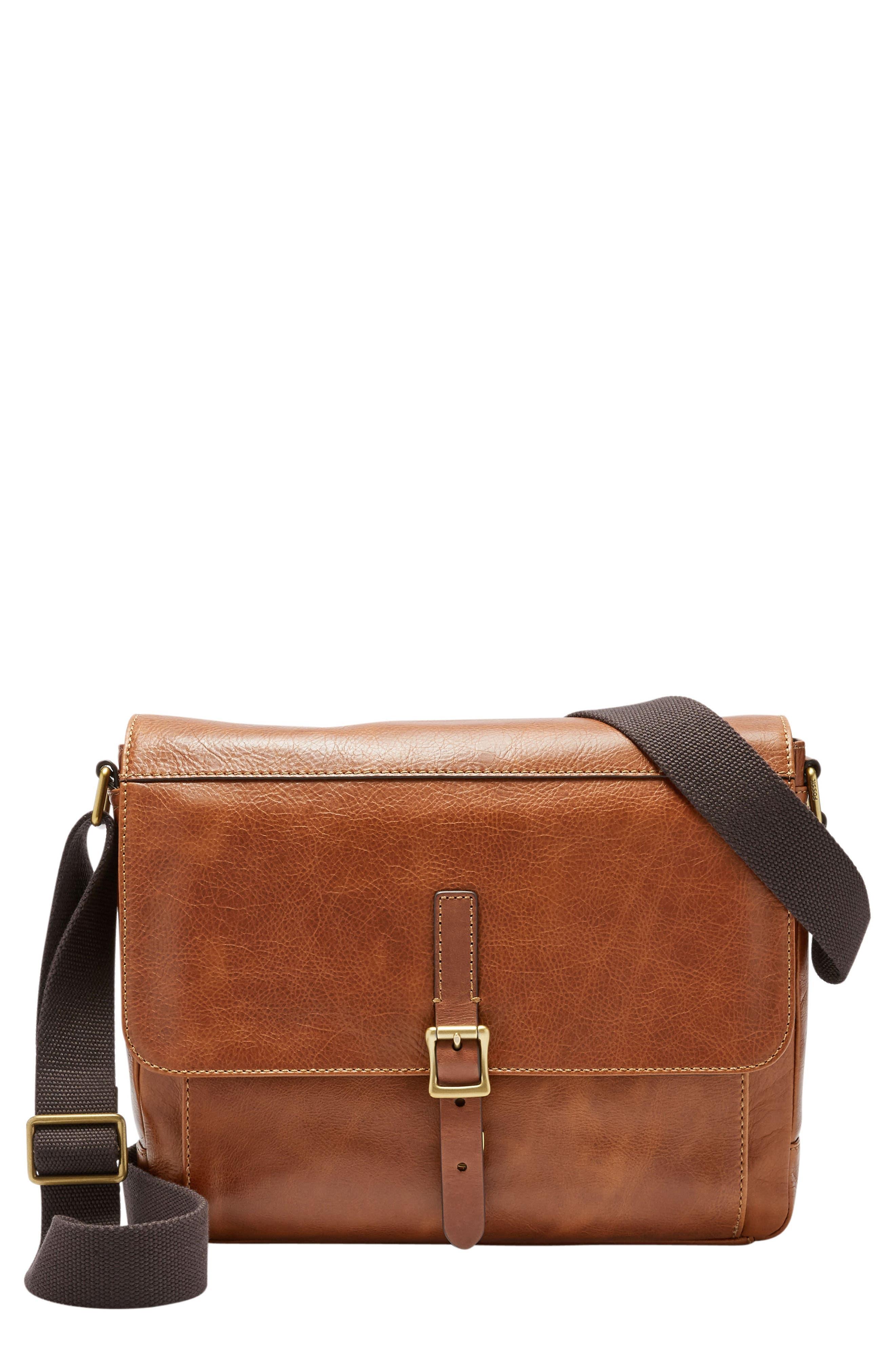 Defender Leather Messenger Bag,                             Main thumbnail 1, color,                             202