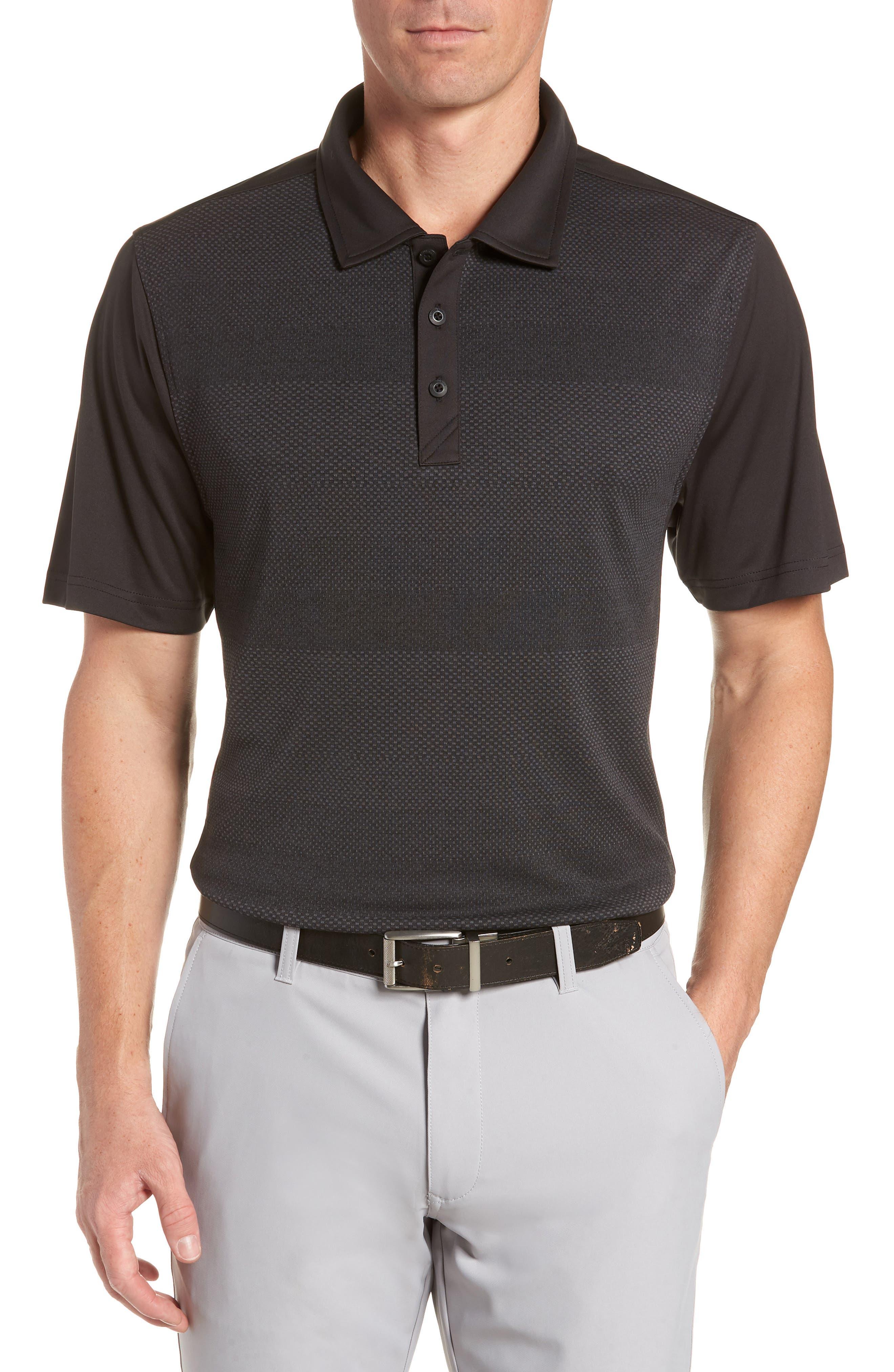 Crescent Striped Polo,                         Main,                         color, BLACK