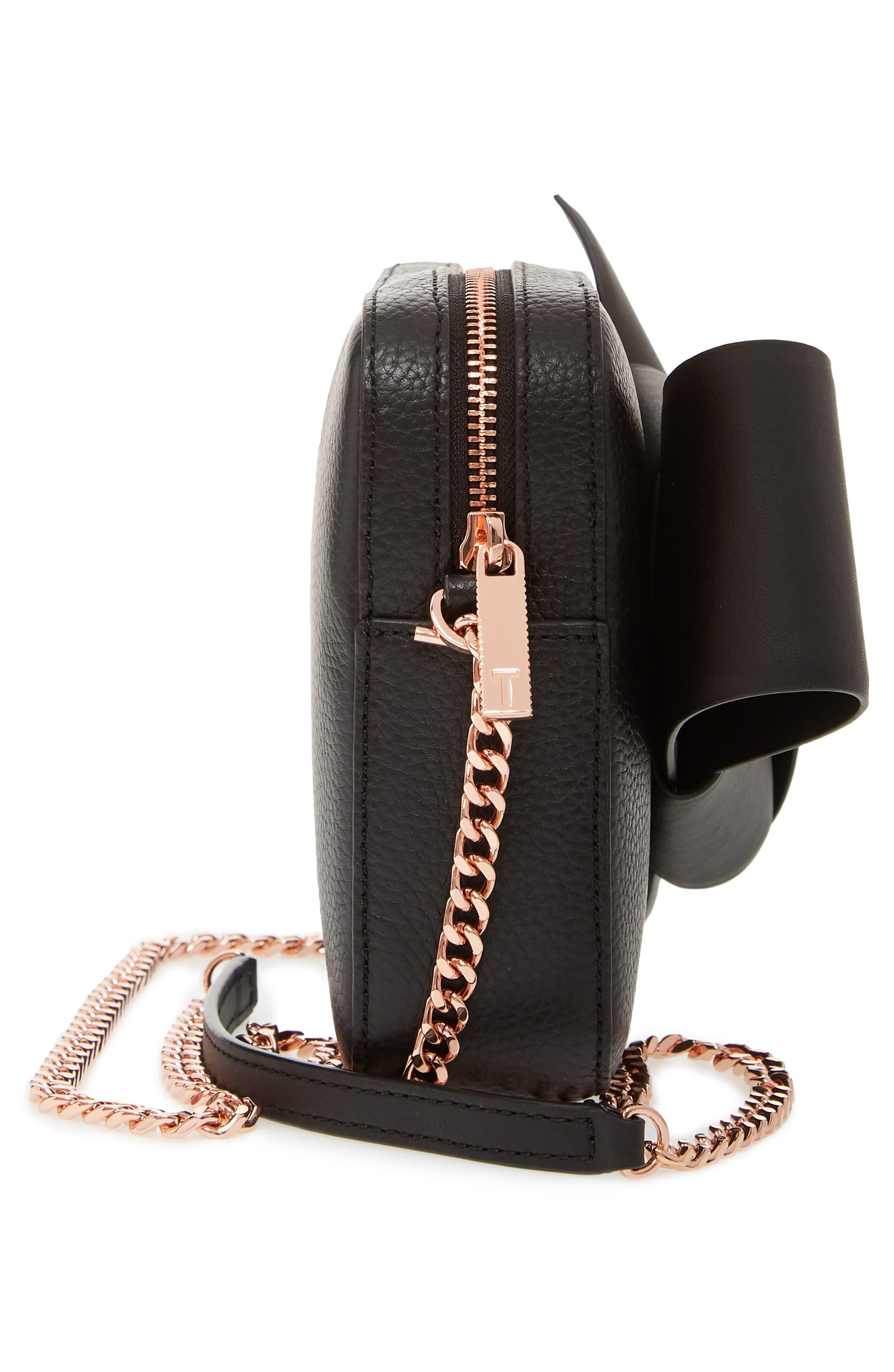 Giant Knot Leather Camera Bag,                             Alternate thumbnail 5, color,                             BLACK