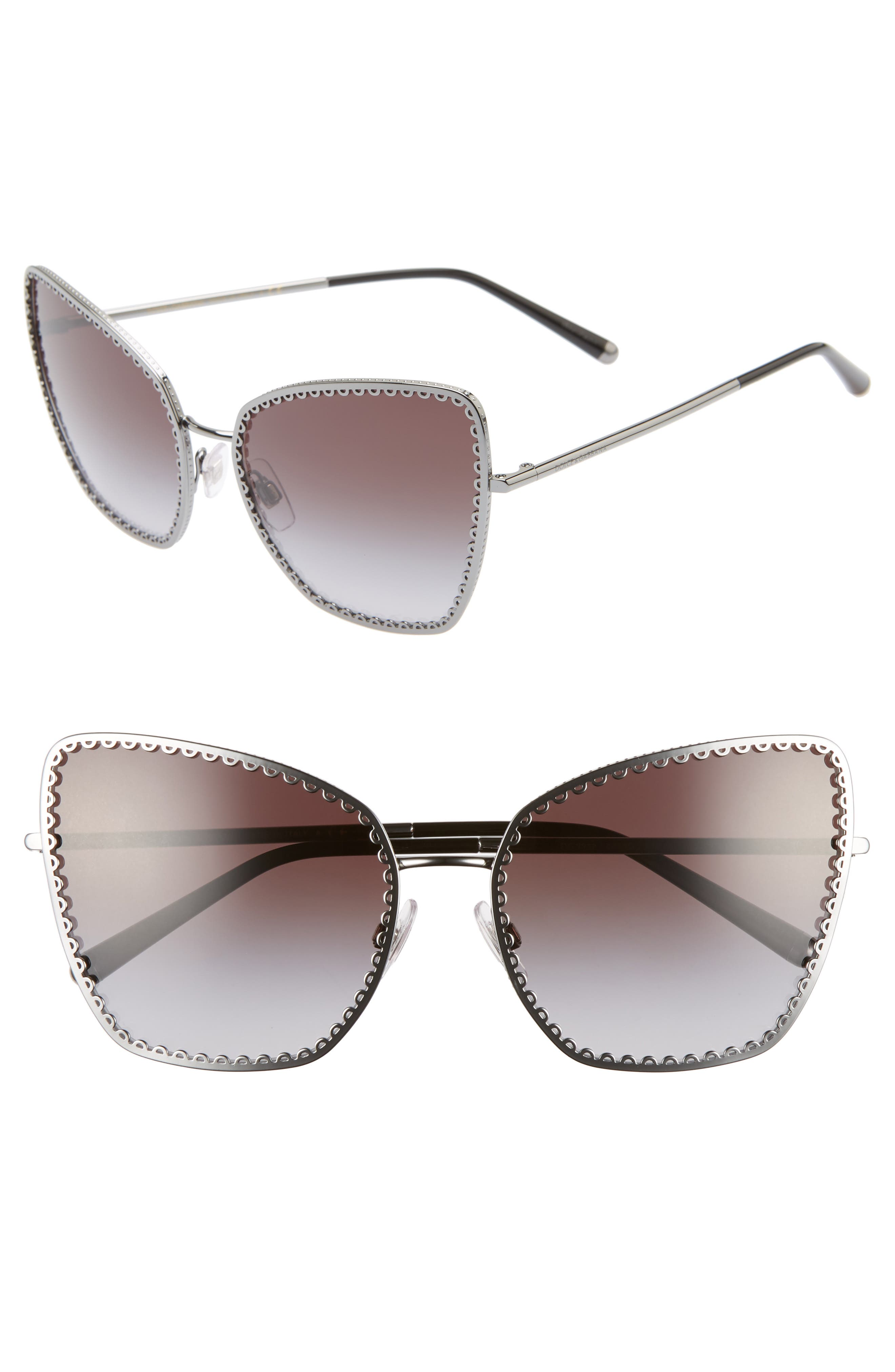 Sacred Heart 61mm Gradient Cat Eye Sunglasses,                         Main,                         color, GUNMETAL GRADIENT