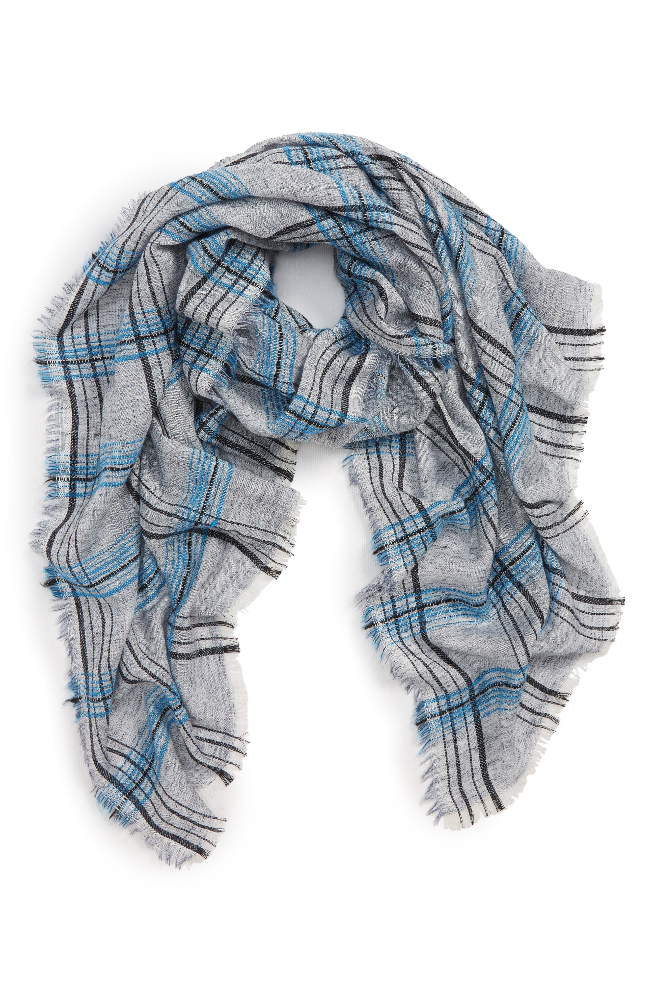 SOLE SOCIETY Plaid Wool Blend Scarf, Main, color, 020