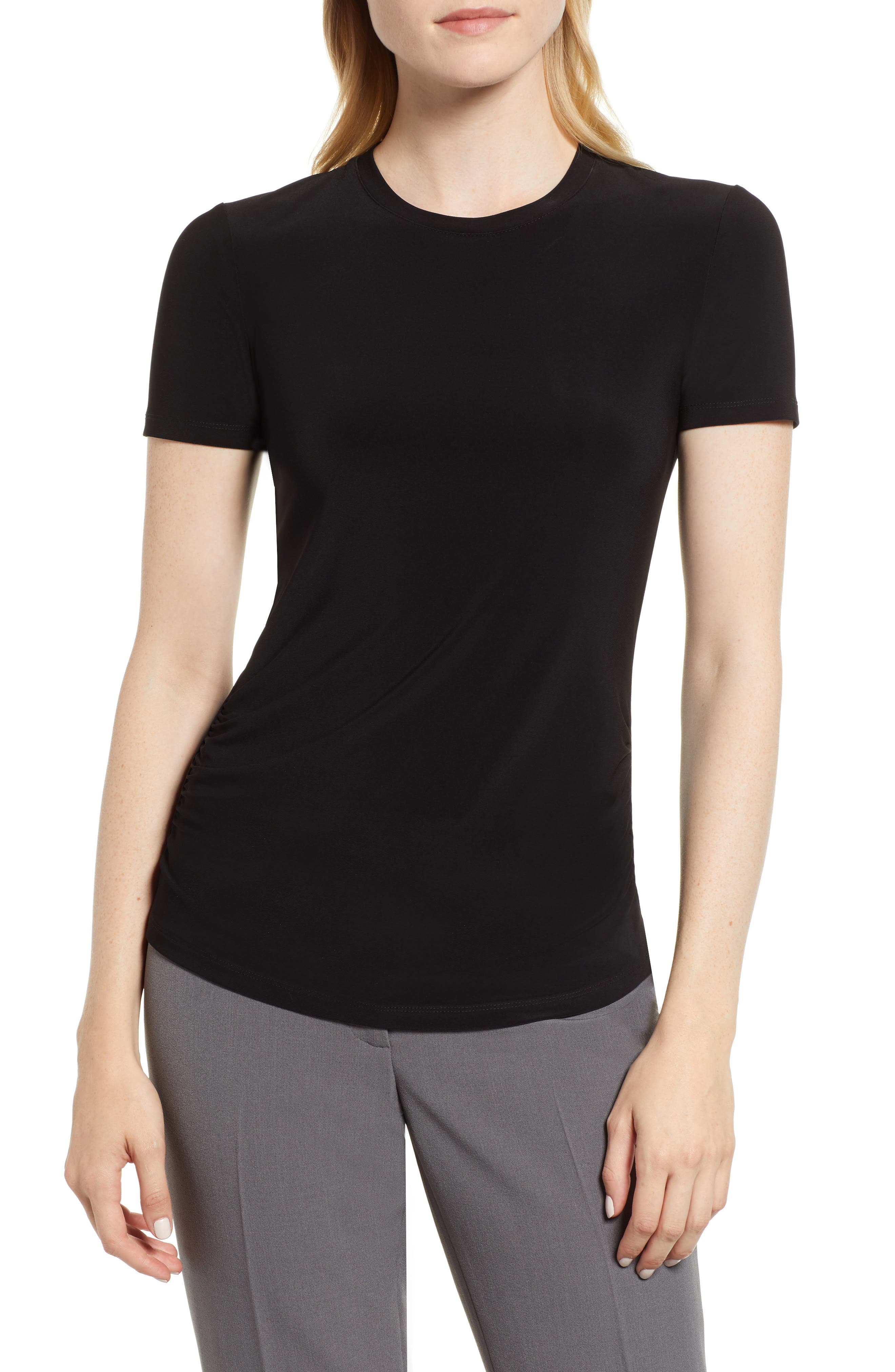 Ruched Crewneck Tee,                         Main,                         color, ANNE BLACK