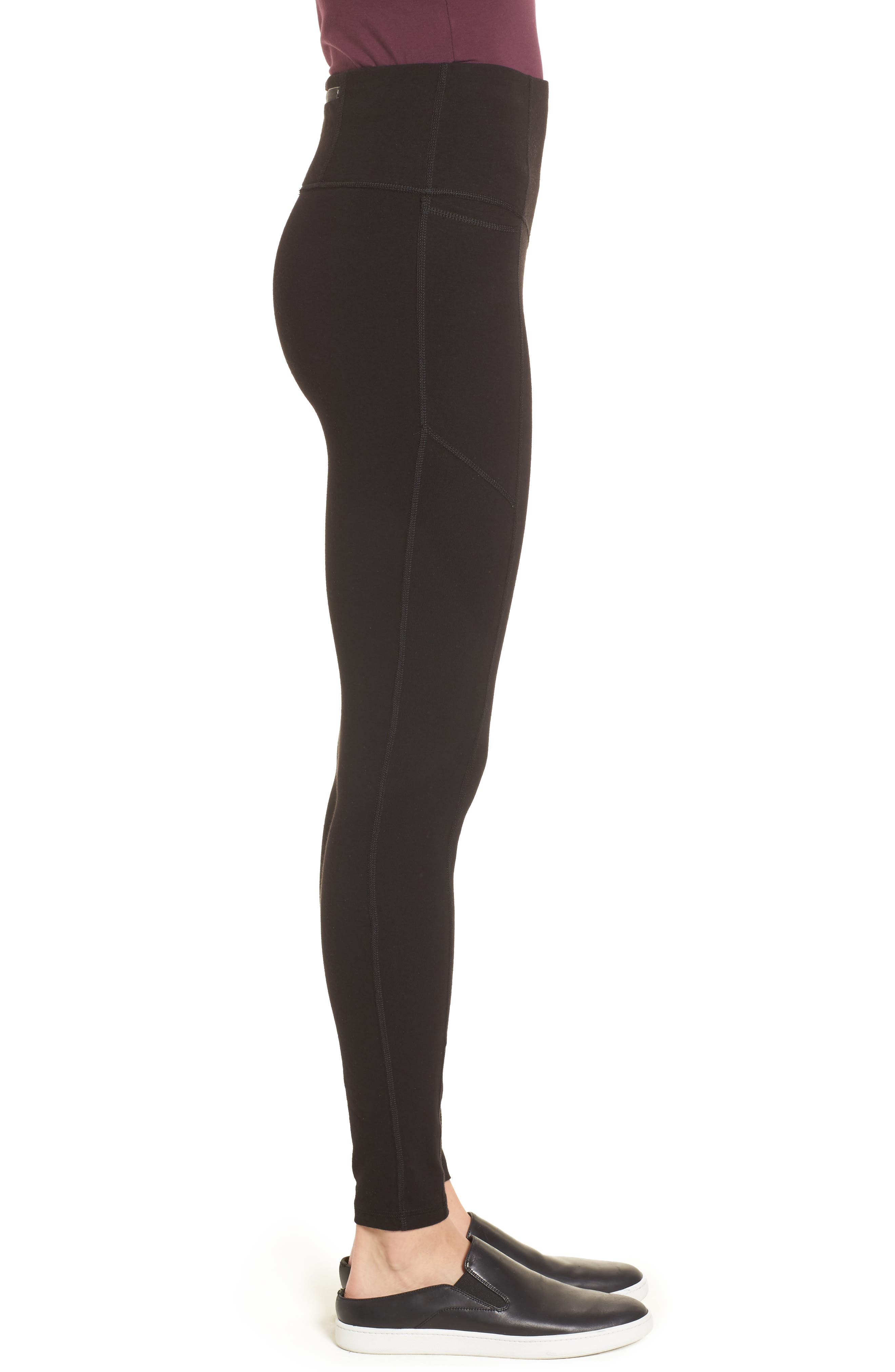 HUE,                             Hold It High Waist Leggings,                             Alternate thumbnail 3, color,                             001