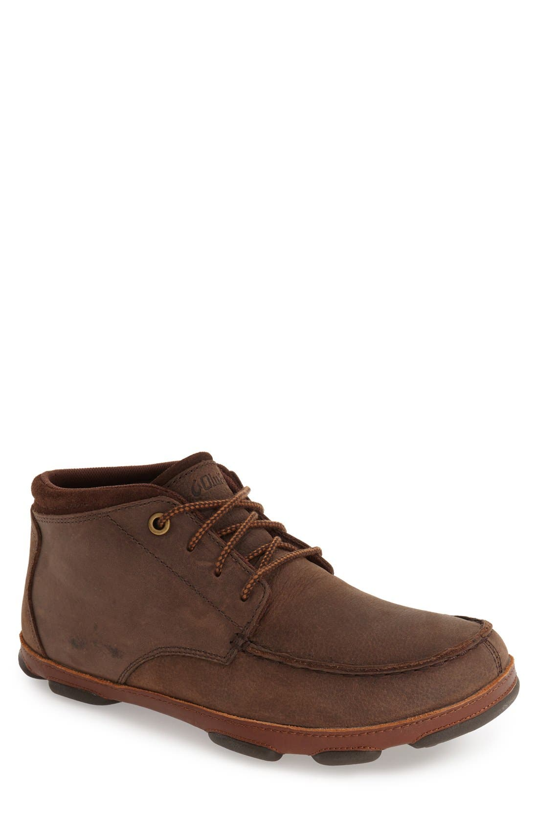 'Hamakua' Moc Toe Boot,                         Main,                         color, DARK WOOD/ TOFFEE LEATHER