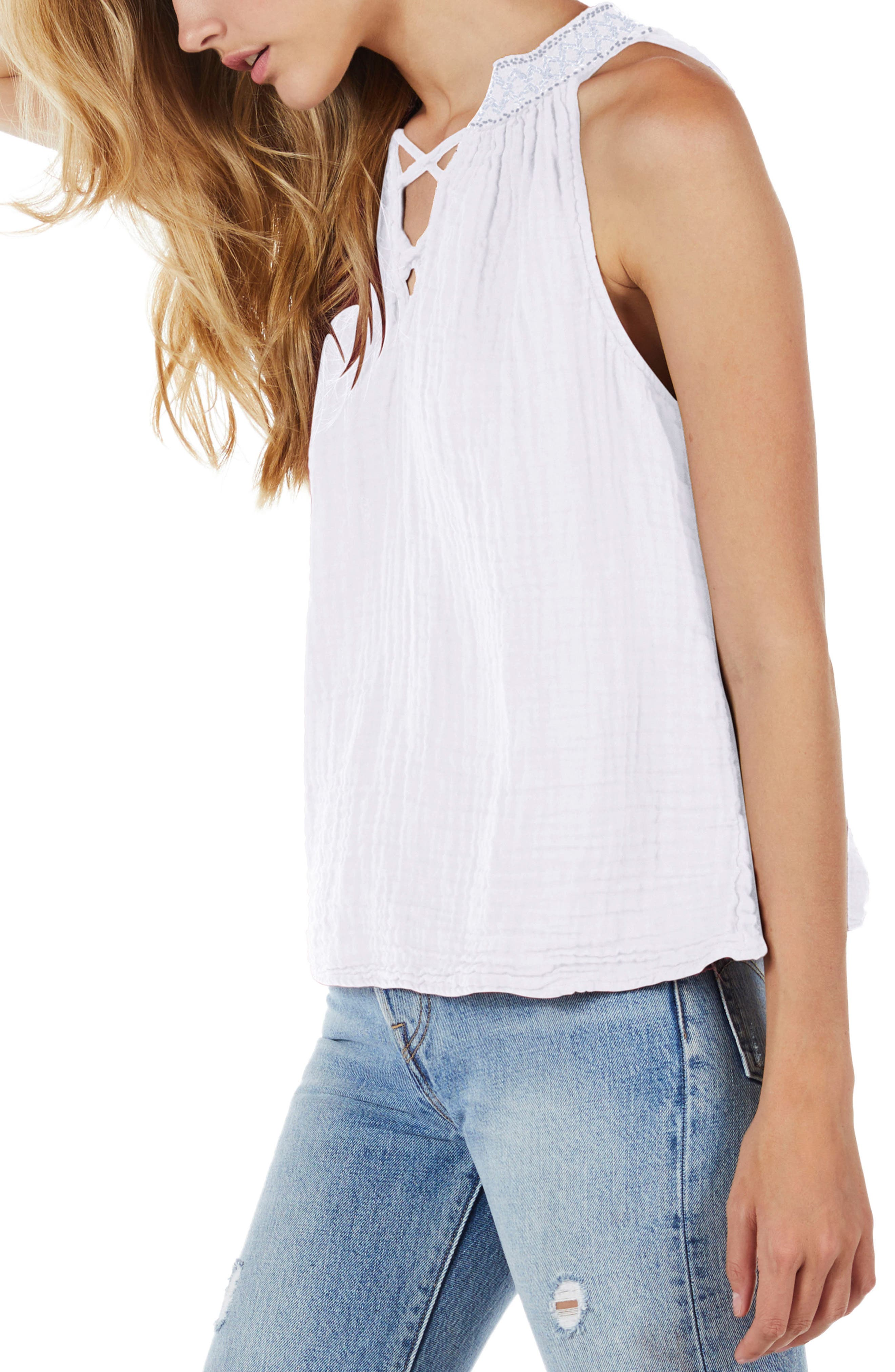 Embroidered Neck Tank,                             Alternate thumbnail 3, color,                             100