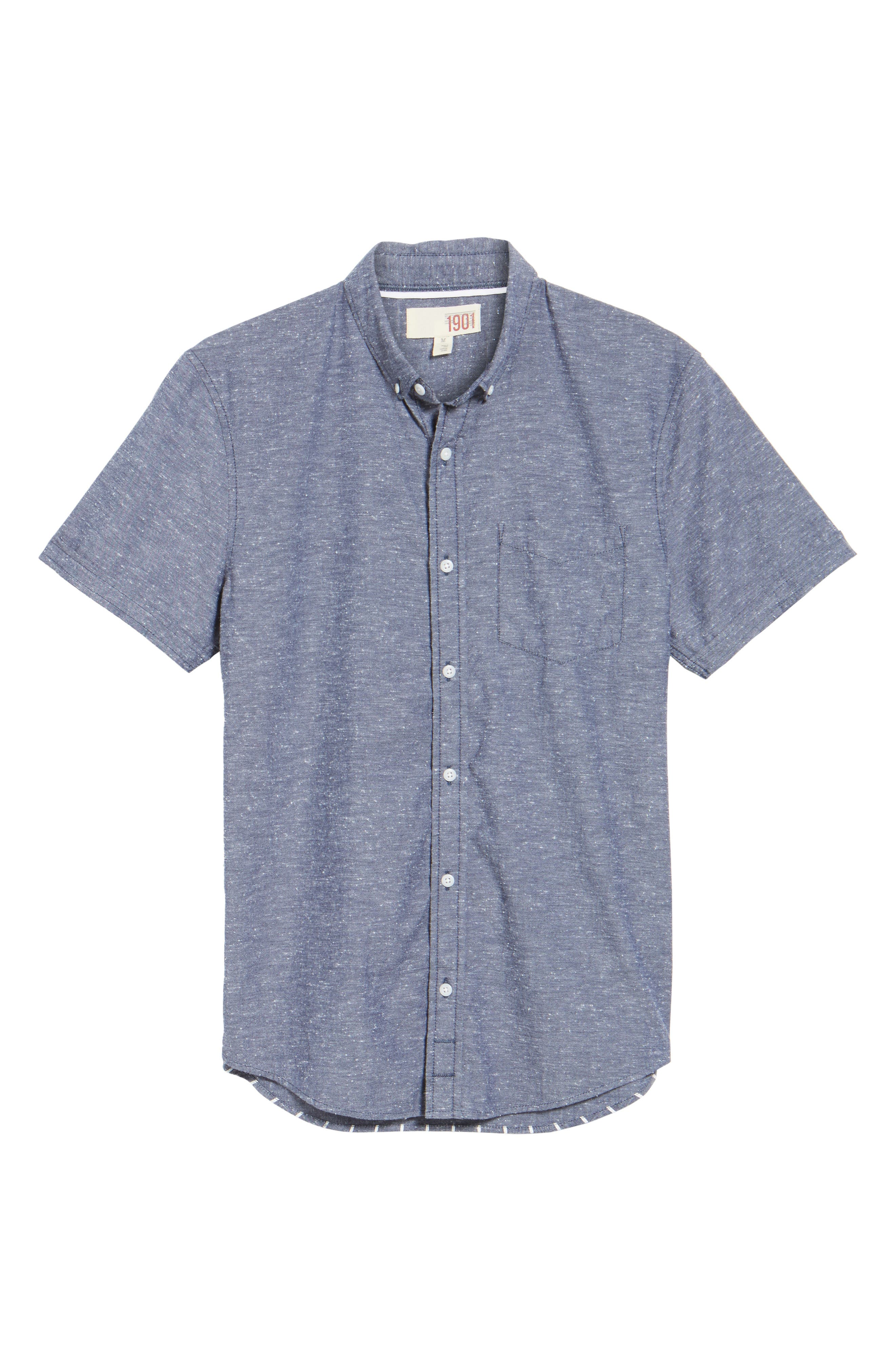 Placed Stripe Chambray Shirt,                             Alternate thumbnail 6, color,                             410