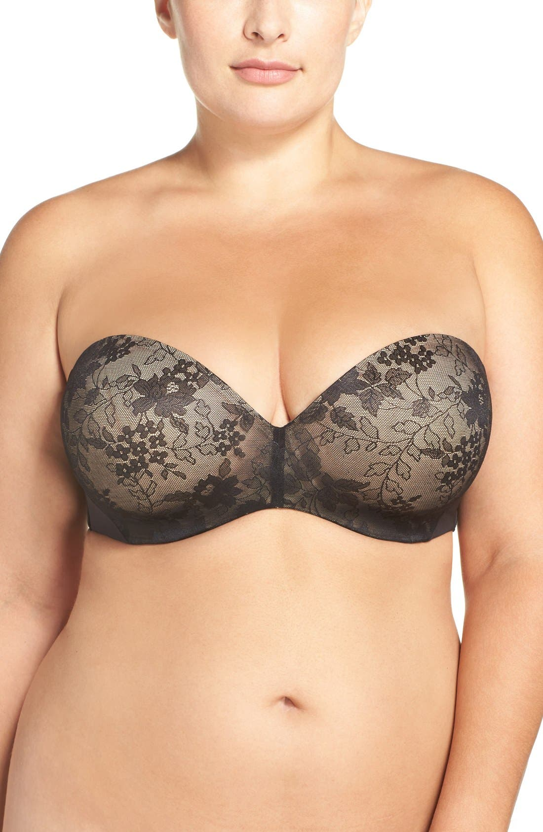 Strapless Underwire Push-Up Bra,                             Main thumbnail 1, color,                             001
