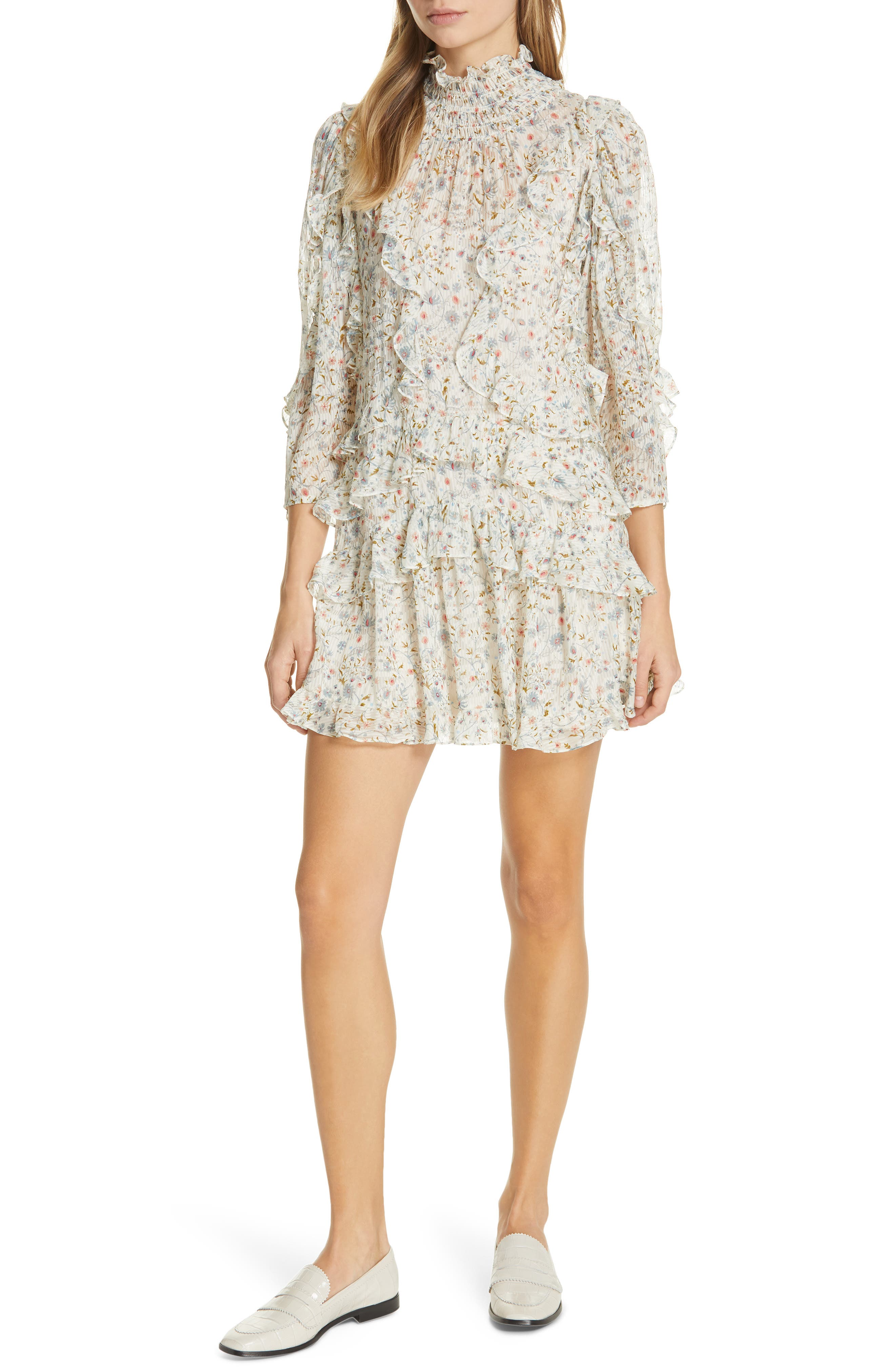 Rebecca Taylor Vivianna Ruffle Silk Blend Minidress, Ivory