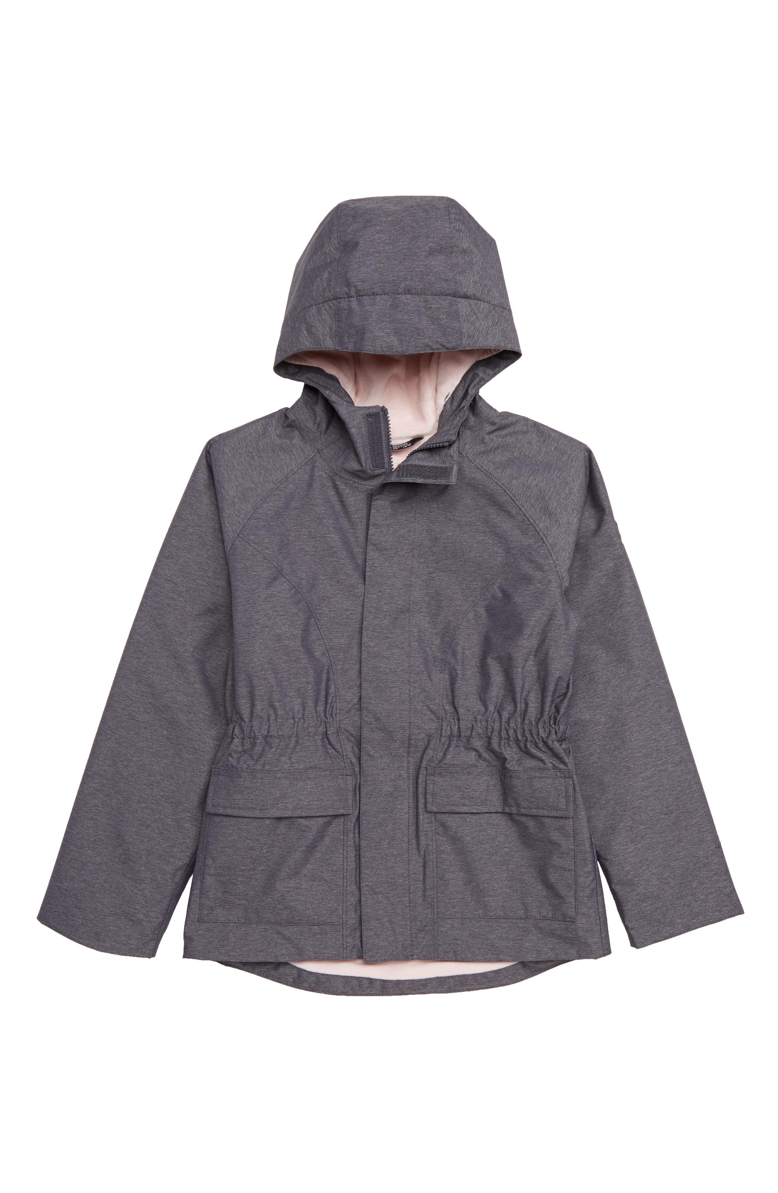 Warm Sophie Hooded Rain Parka,                         Main,                         color, PERISCOPE GREY HEATHER