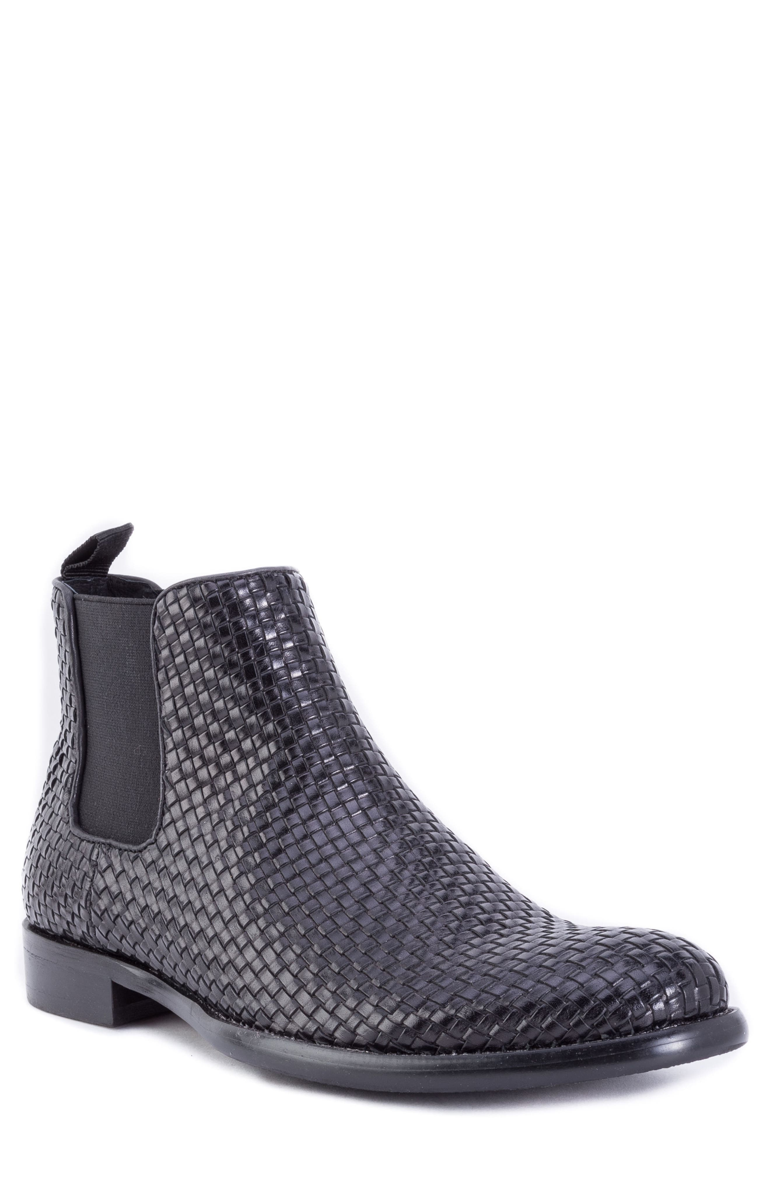 Woodward Woven Chelsea Boot,                             Main thumbnail 1, color,                             BLACK LEATHER