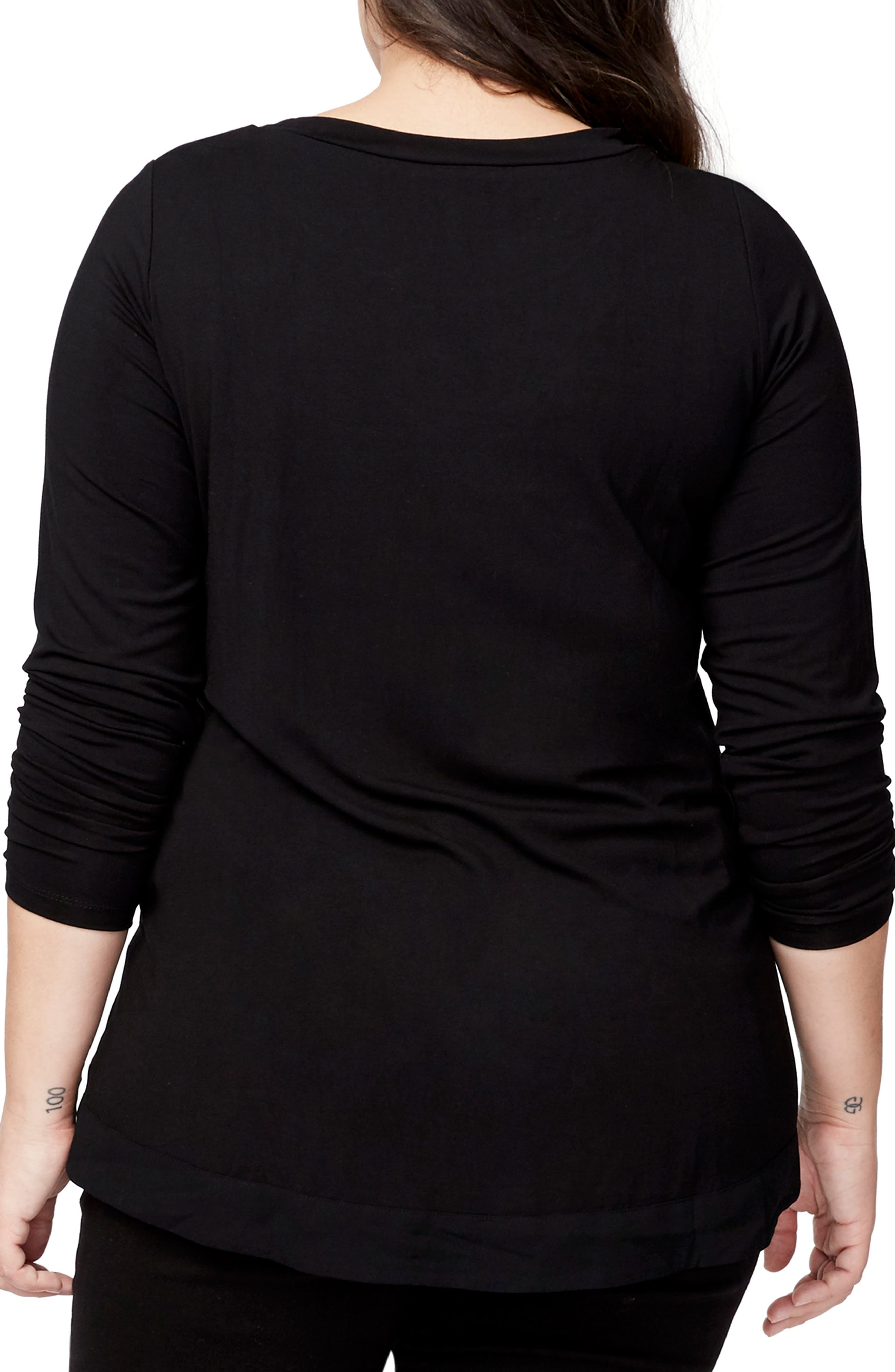 Zip Front Tee,                             Alternate thumbnail 2, color,                             BLACK