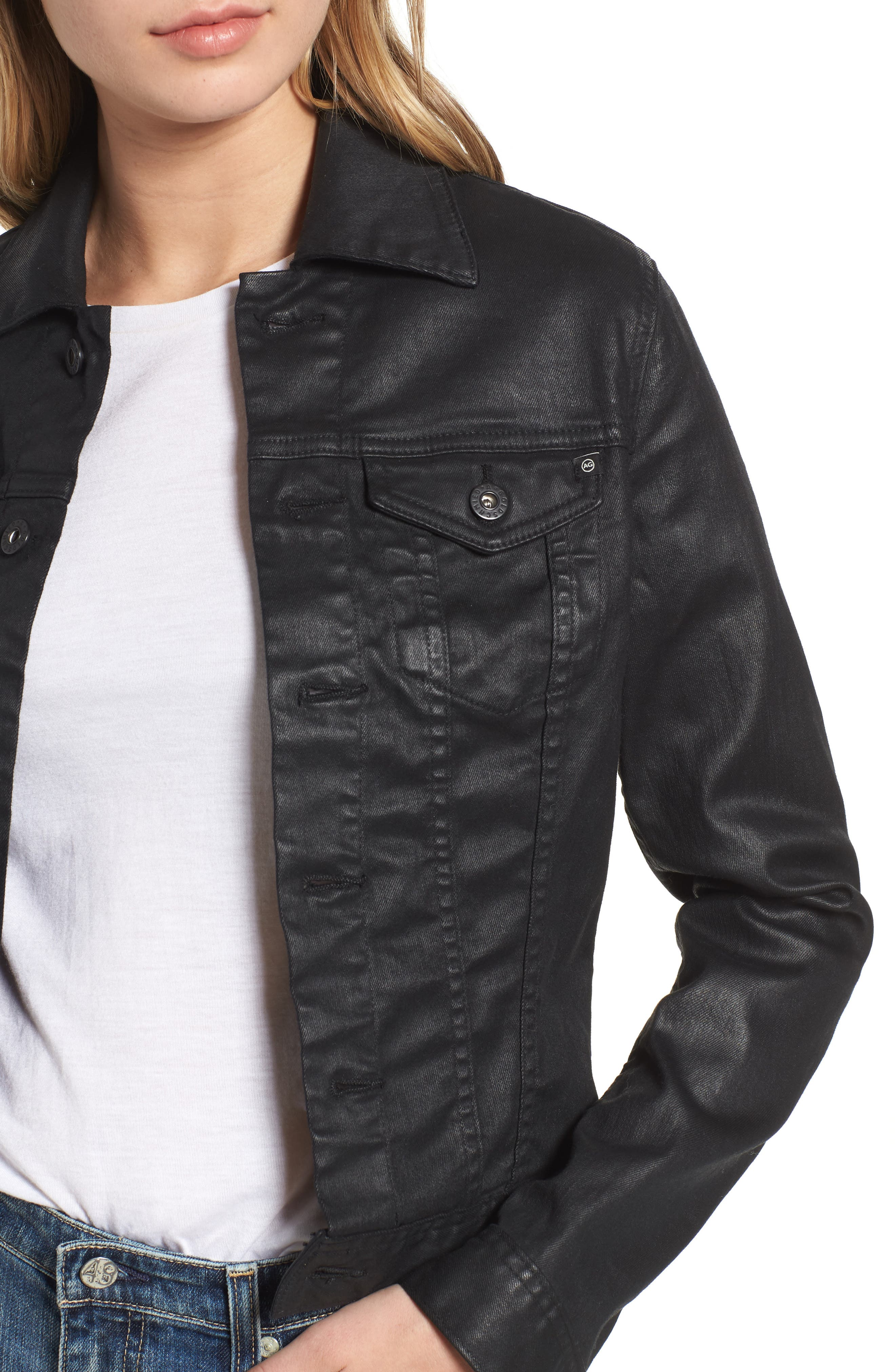 'Robyn' Denim Jacket,                             Alternate thumbnail 4, color,                             LACQUERED PURE BLACK