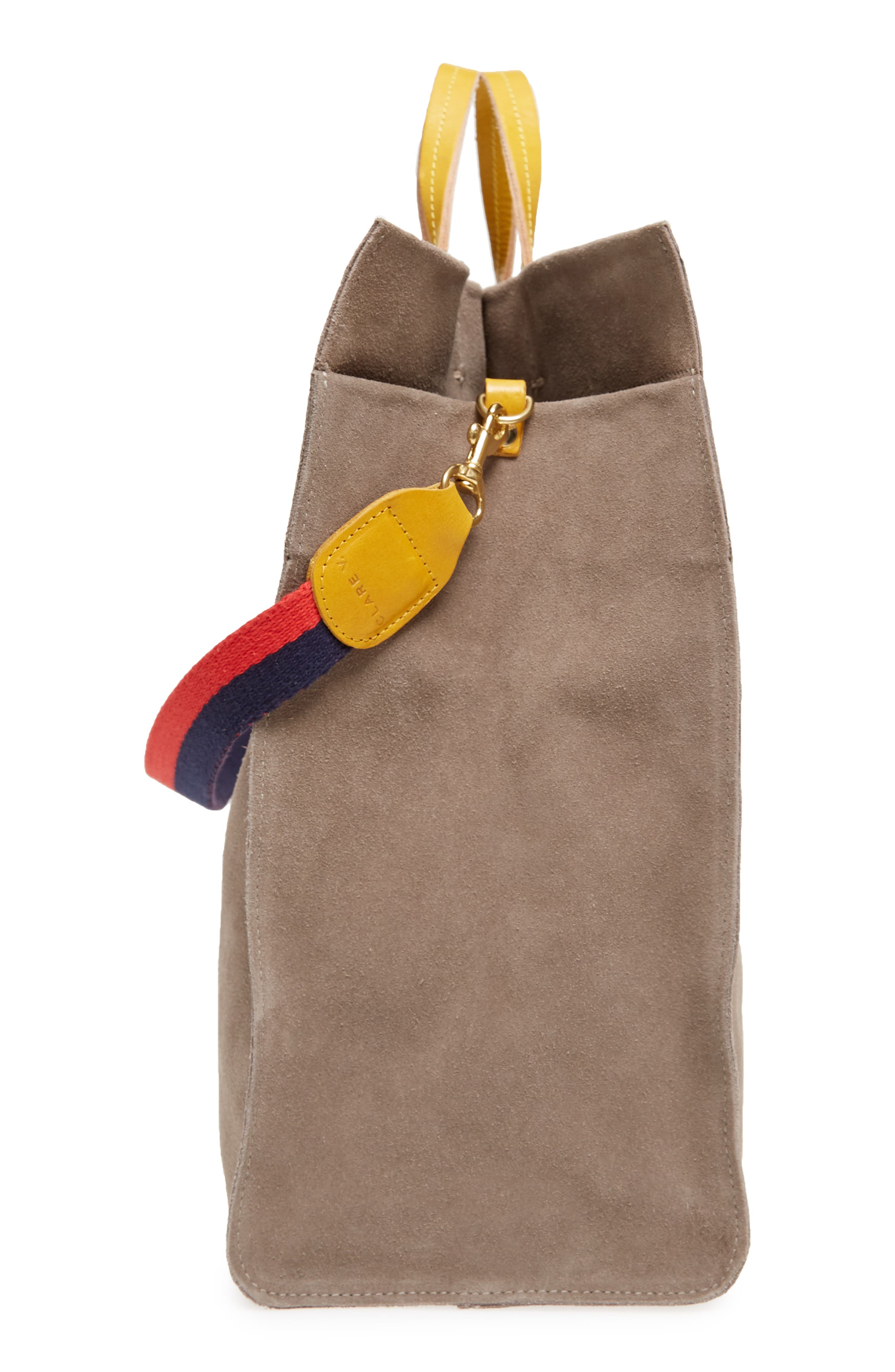 Simple Suede Tote,                             Alternate thumbnail 6, color,                             TAUPE/ YELLOW RUSTIC