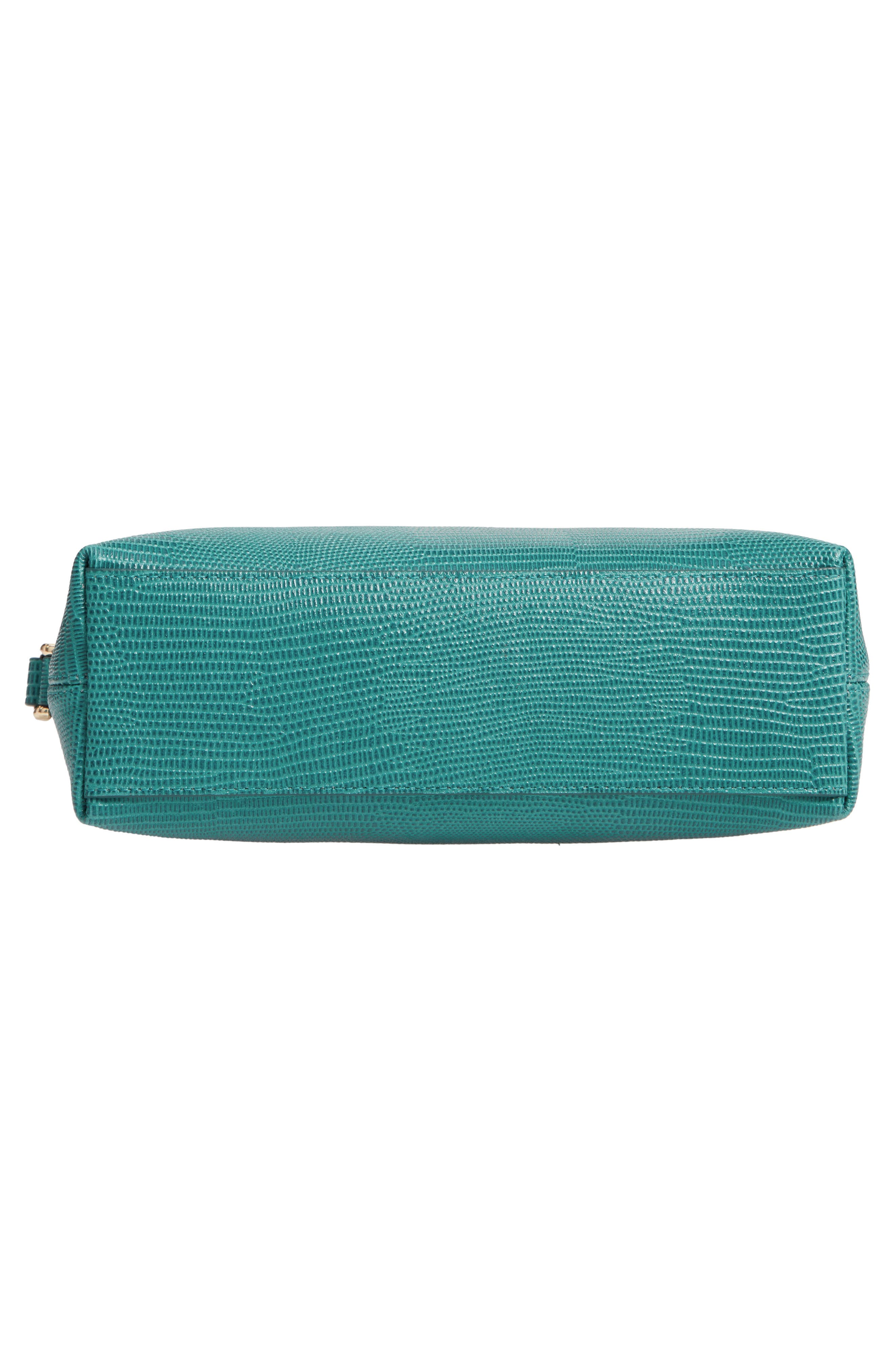 Isobel Half Moon Leather Crossbody Bag,                             Alternate thumbnail 6, color,                             TEAL HARBOR