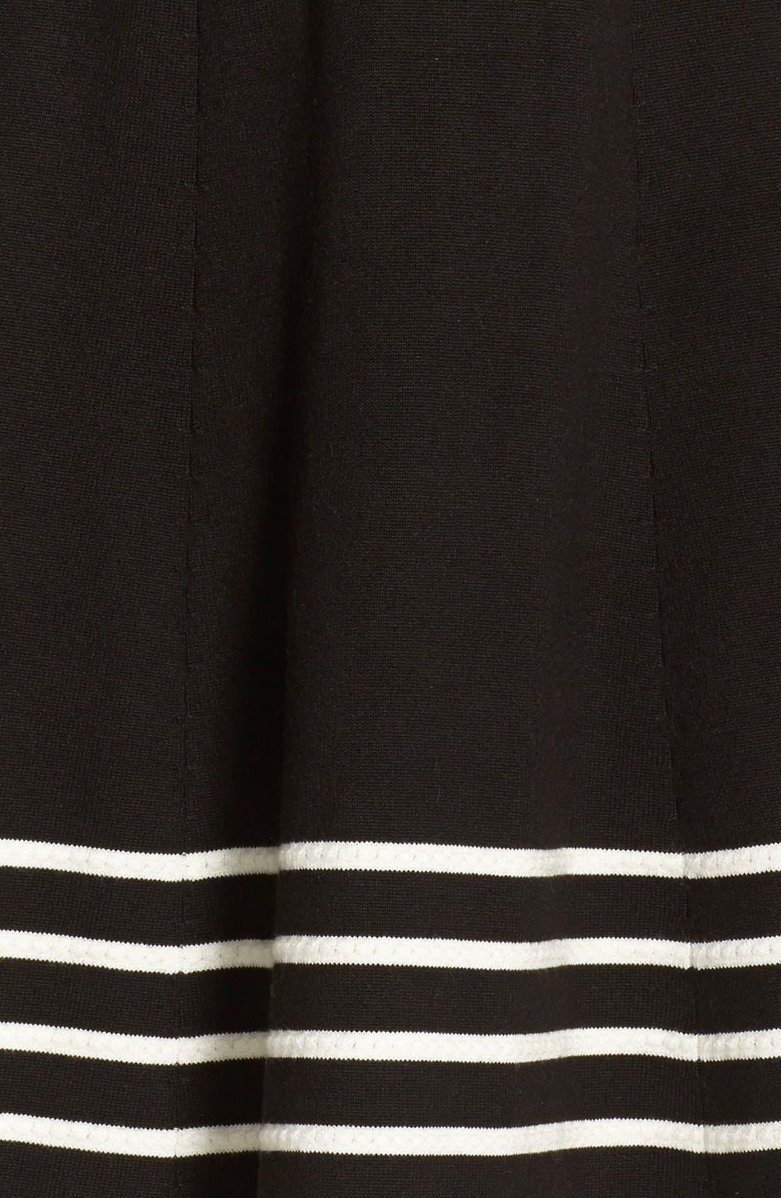 Stripe Knit Flared Dress,                             Alternate thumbnail 8, color,                             001
