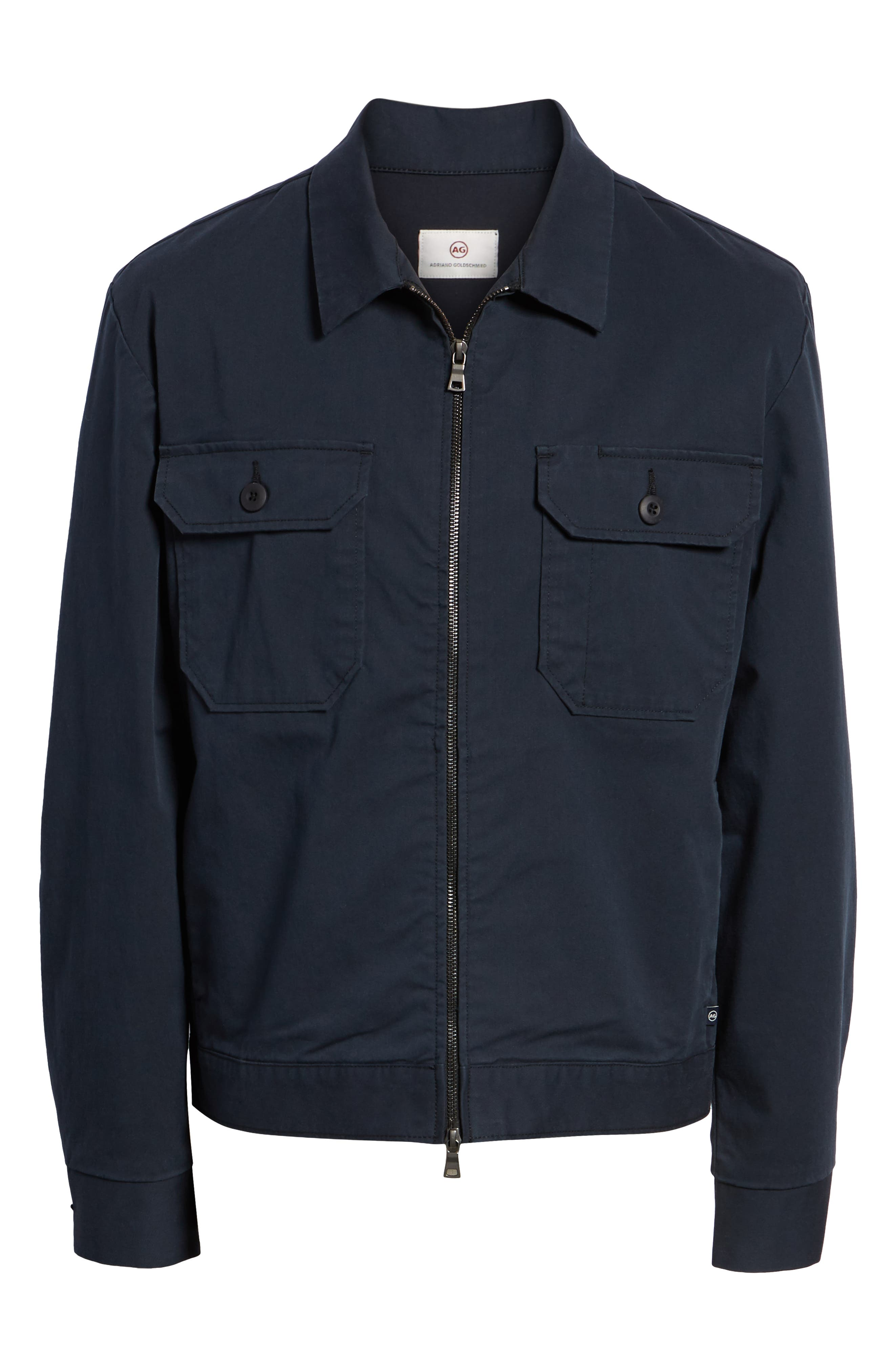 Axle Shop Regular Stretch Cotton Blend Jacket,                             Alternate thumbnail 6, color,                             BLUE VAULT/ BLACK