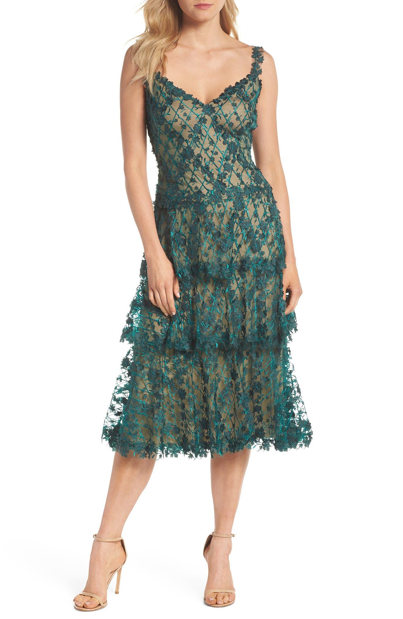3D Floral Midi Dress,                             Main thumbnail 1, color,                             PINE/ NUDE