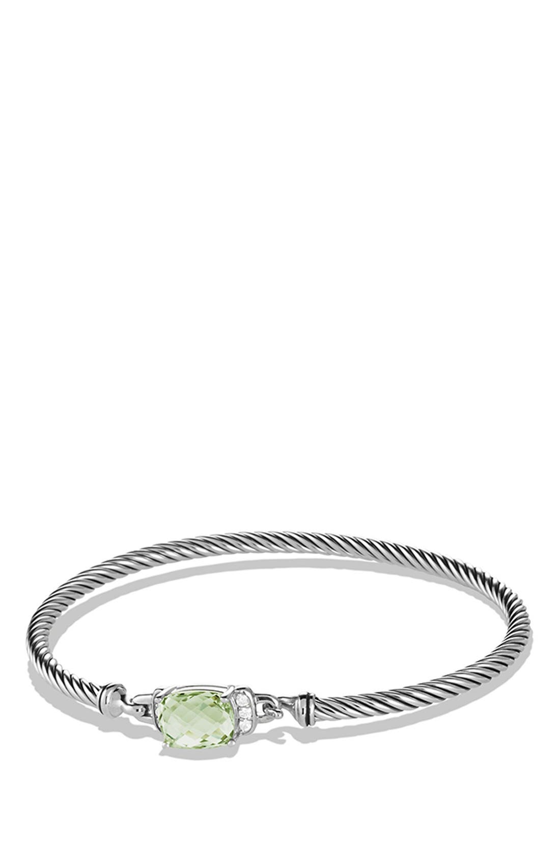'Petite Wheaton' Bracelet with Semiprecious Stone & Diamonds,                         Main,                         color, PRASIOLITE