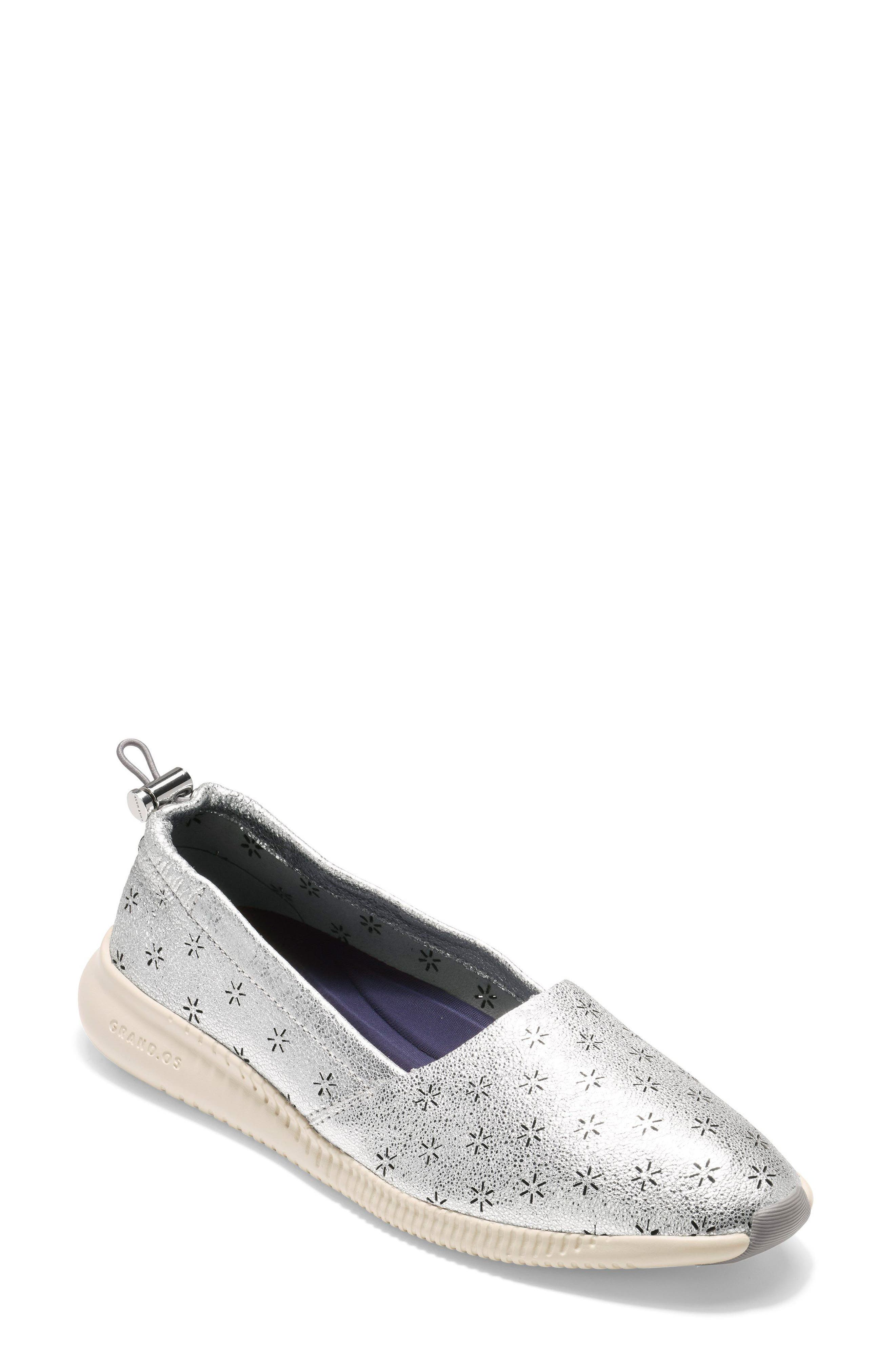 Studiogrand Perforated Slip-on,                             Main thumbnail 1, color,                             SILVER LEATHER