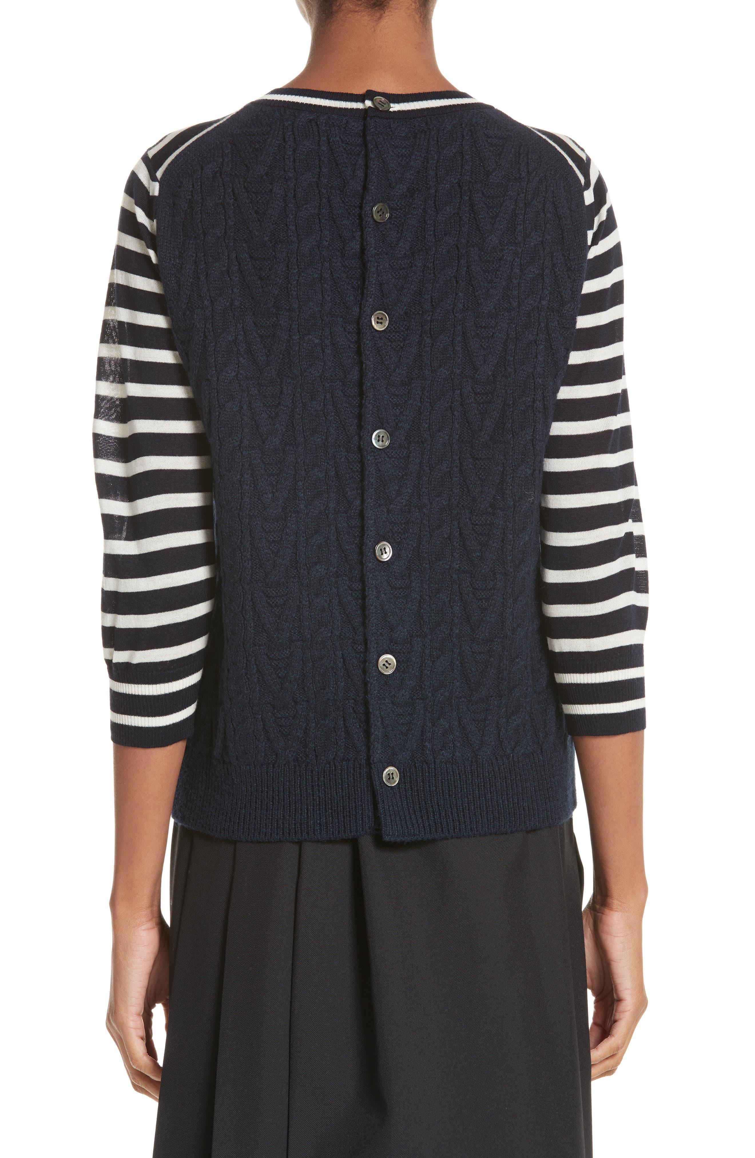 Button Back Stripe Sweater,                             Alternate thumbnail 2, color,                             410