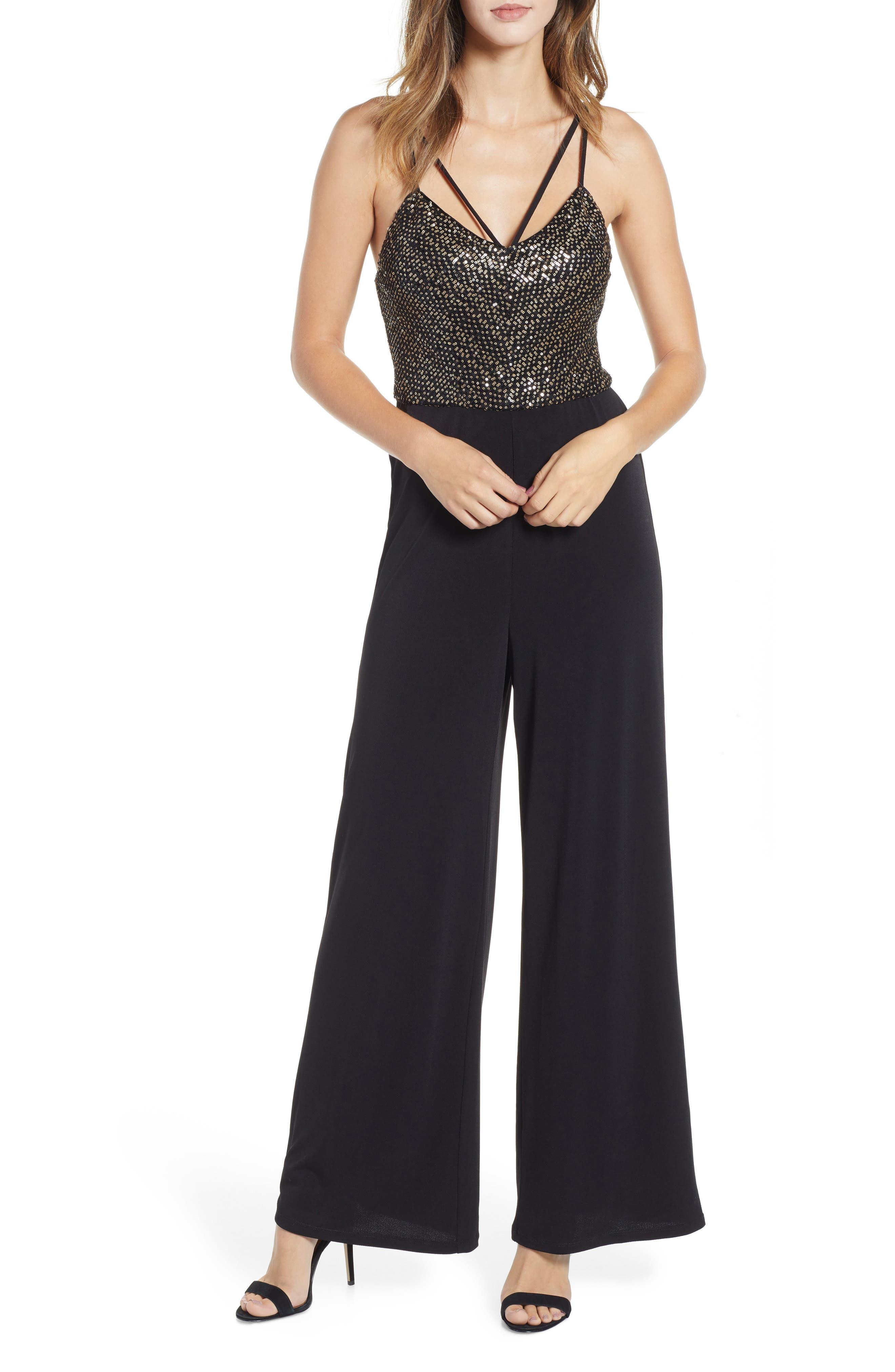 Sequin Bodice Jumpsuit,                         Main,                         color, BLACK