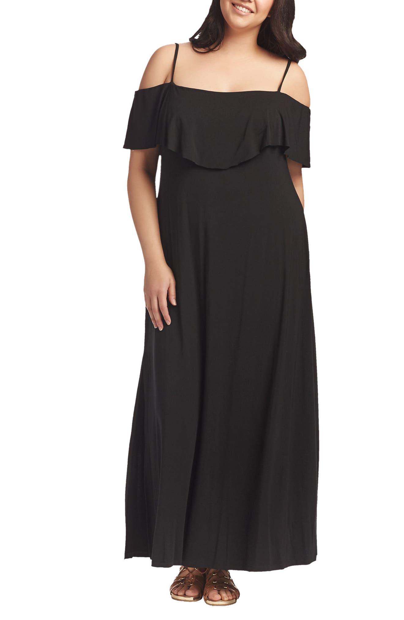 Tacita Cold Shoulder Maxi Dress,                             Main thumbnail 1, color,                             001