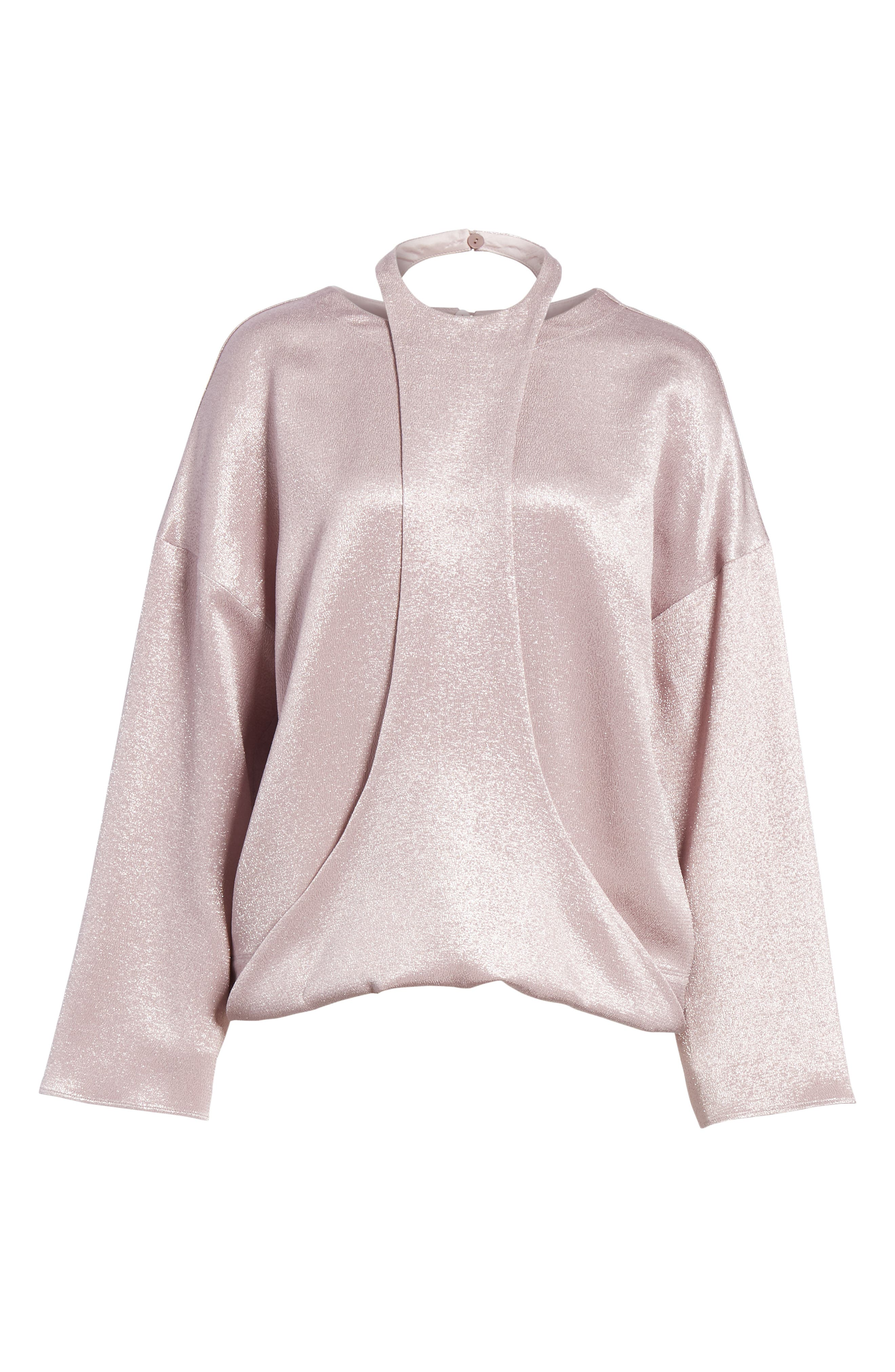 Harness Detail Hammered Lamé Top,                             Alternate thumbnail 6, color,                             650
